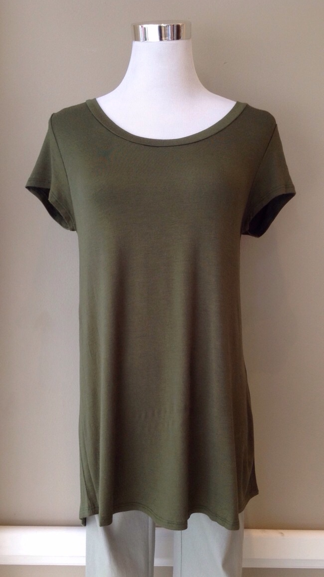 Basic scoop neck tees available in olive, navy, heather grey, and white