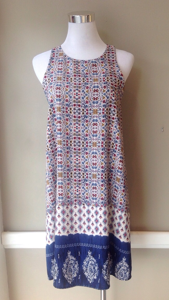 Woven floral print dress in ivory multi, $42