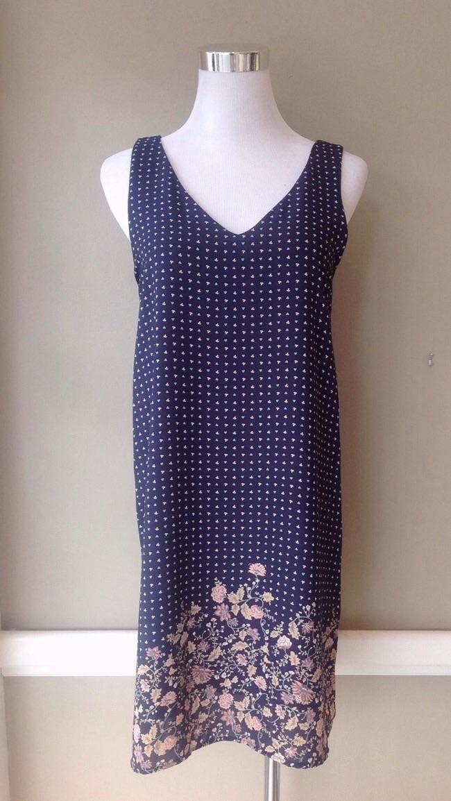 Navy floral print dress, $38