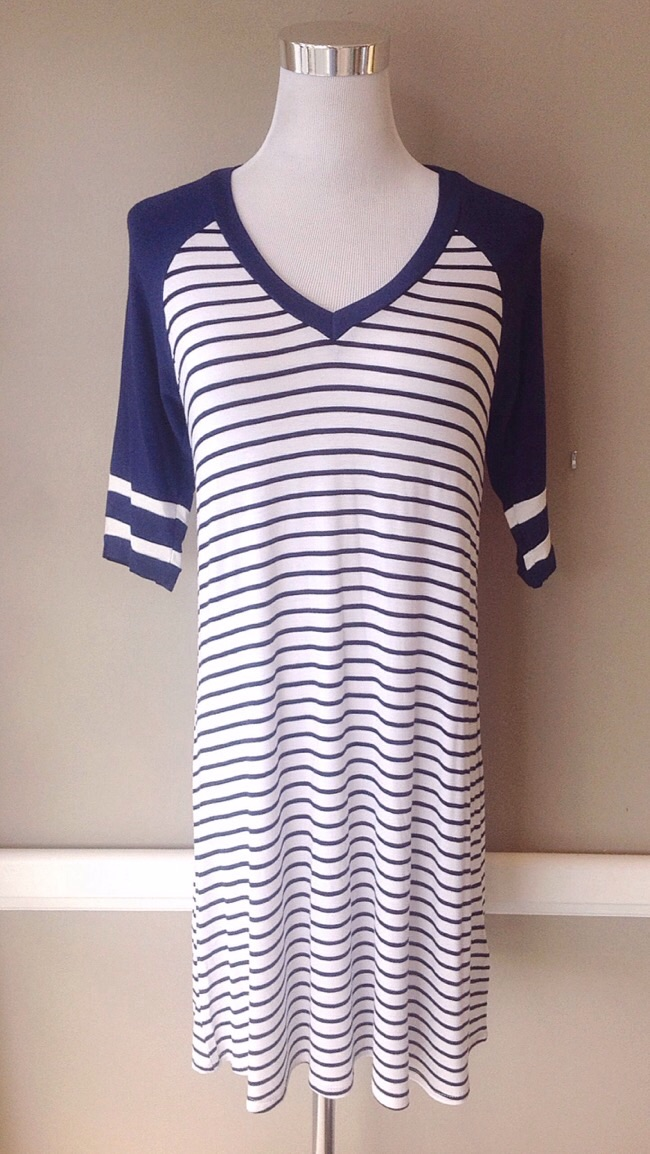 Solid and stripe knit dress in navy/white, $35