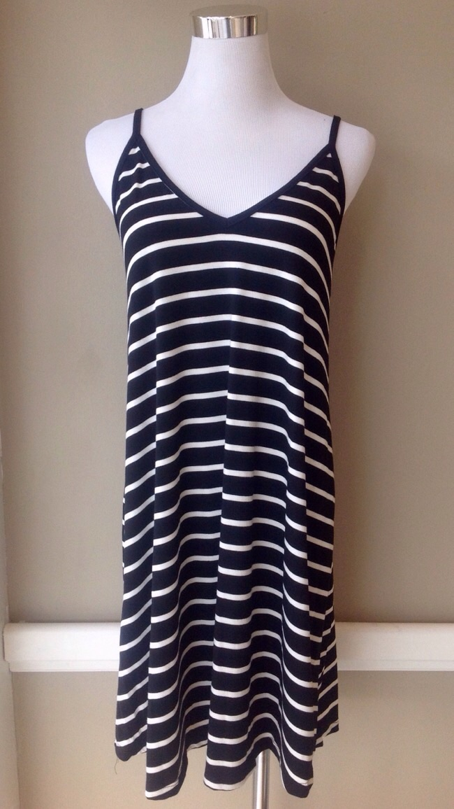 V-neck stripe tank dress in black and white, $34