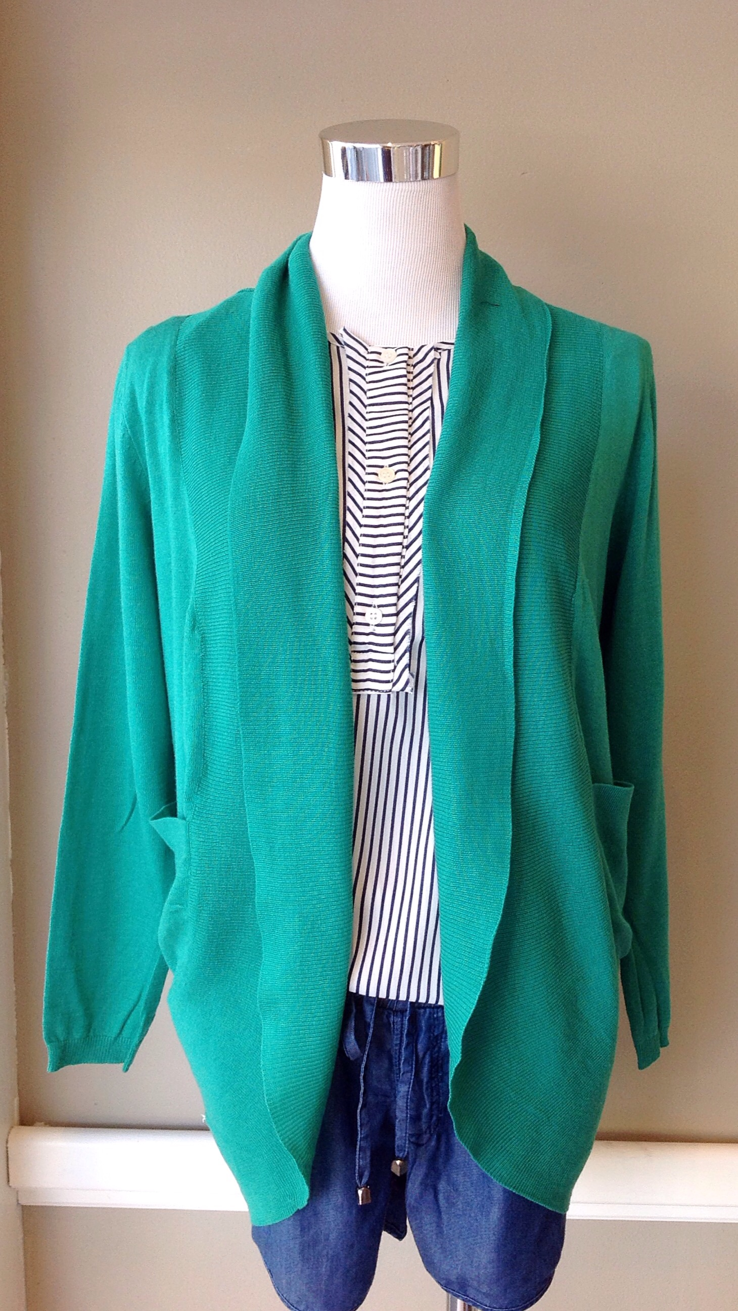 Cotton shawl collar cardigan with side pockets in emerald, $28