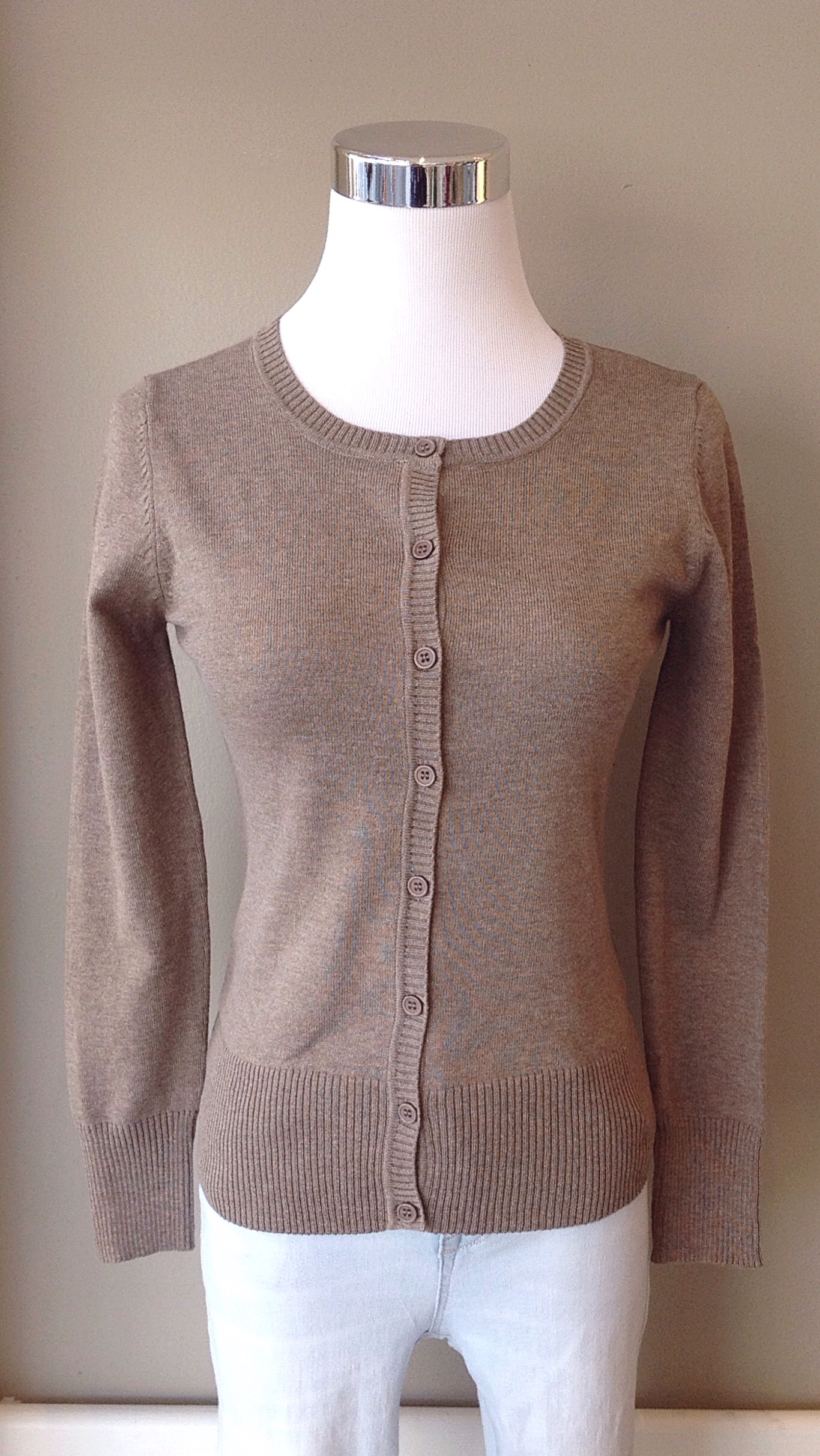Taupe button-down knit cardigan $28