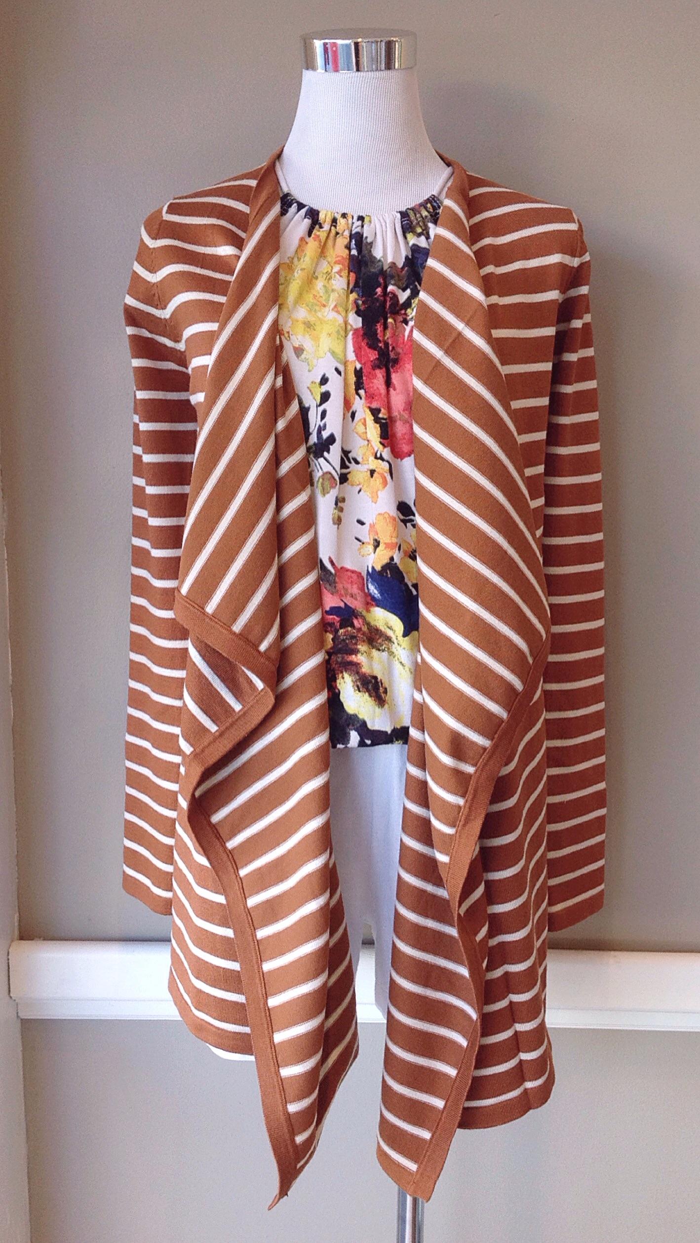 Waterfall drape knit cardigan in honey stripe, $35
