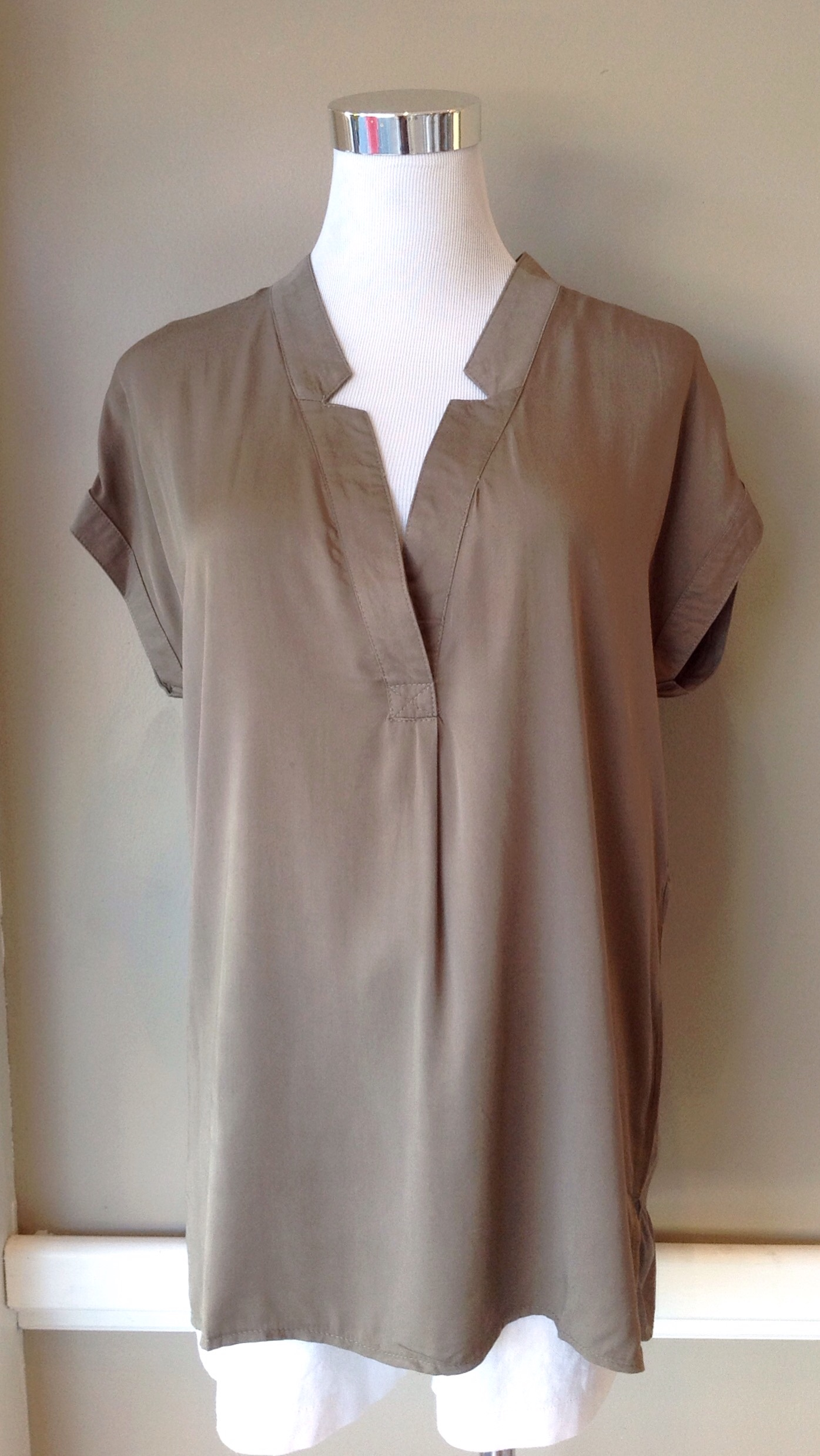 Olive v neck blouse, $34