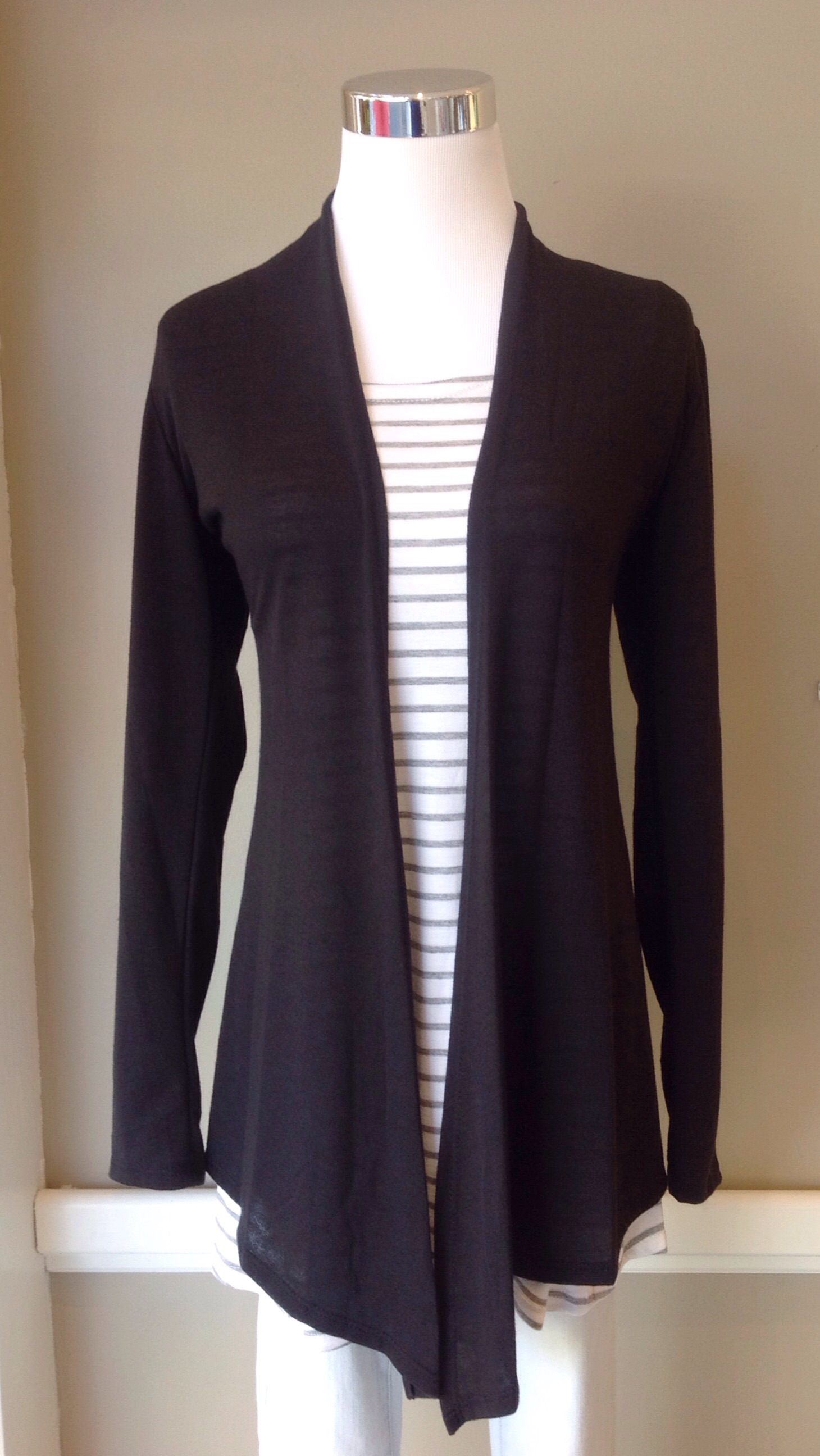Black open front cardigan, $28
