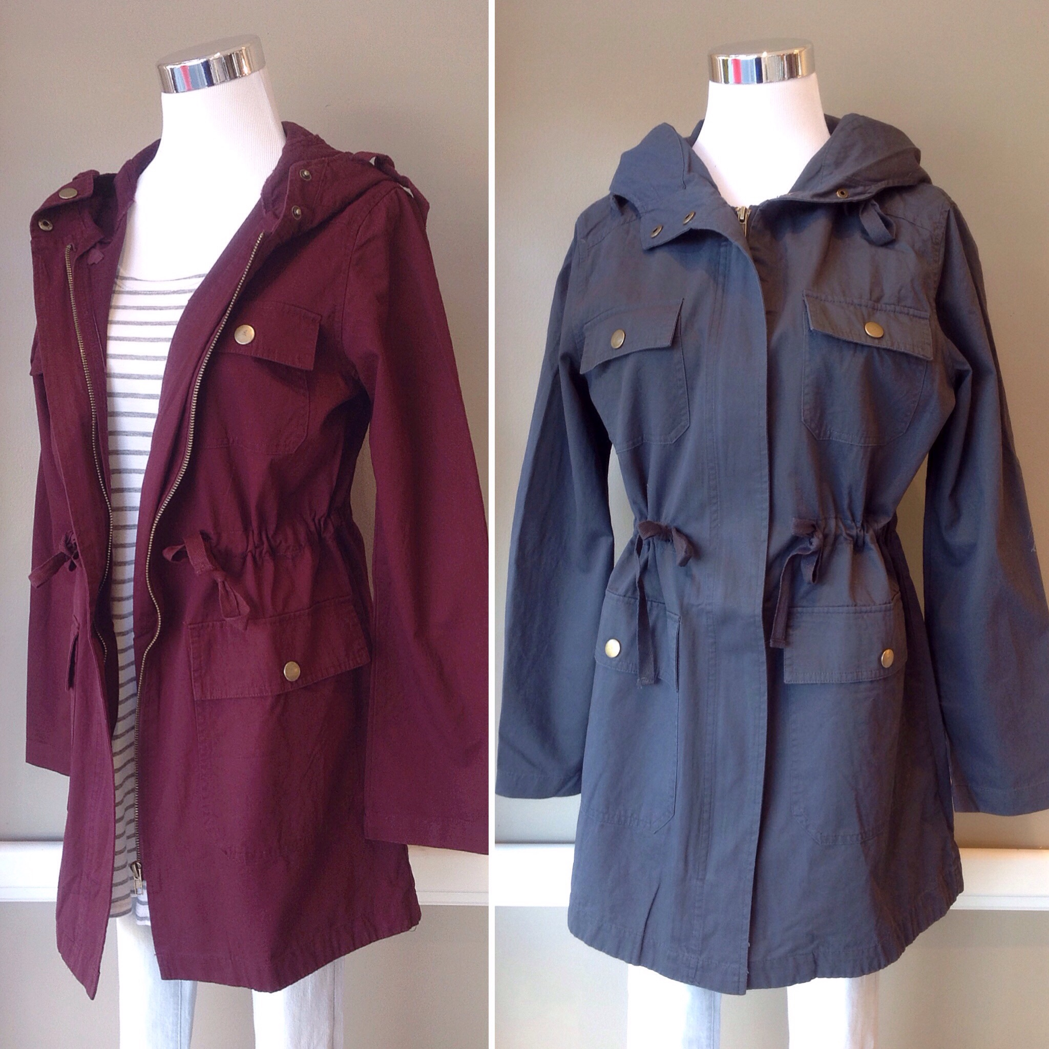 Light cotton twill utility jacket with drawstring waist, $45. Available in burgundy and charcoal.