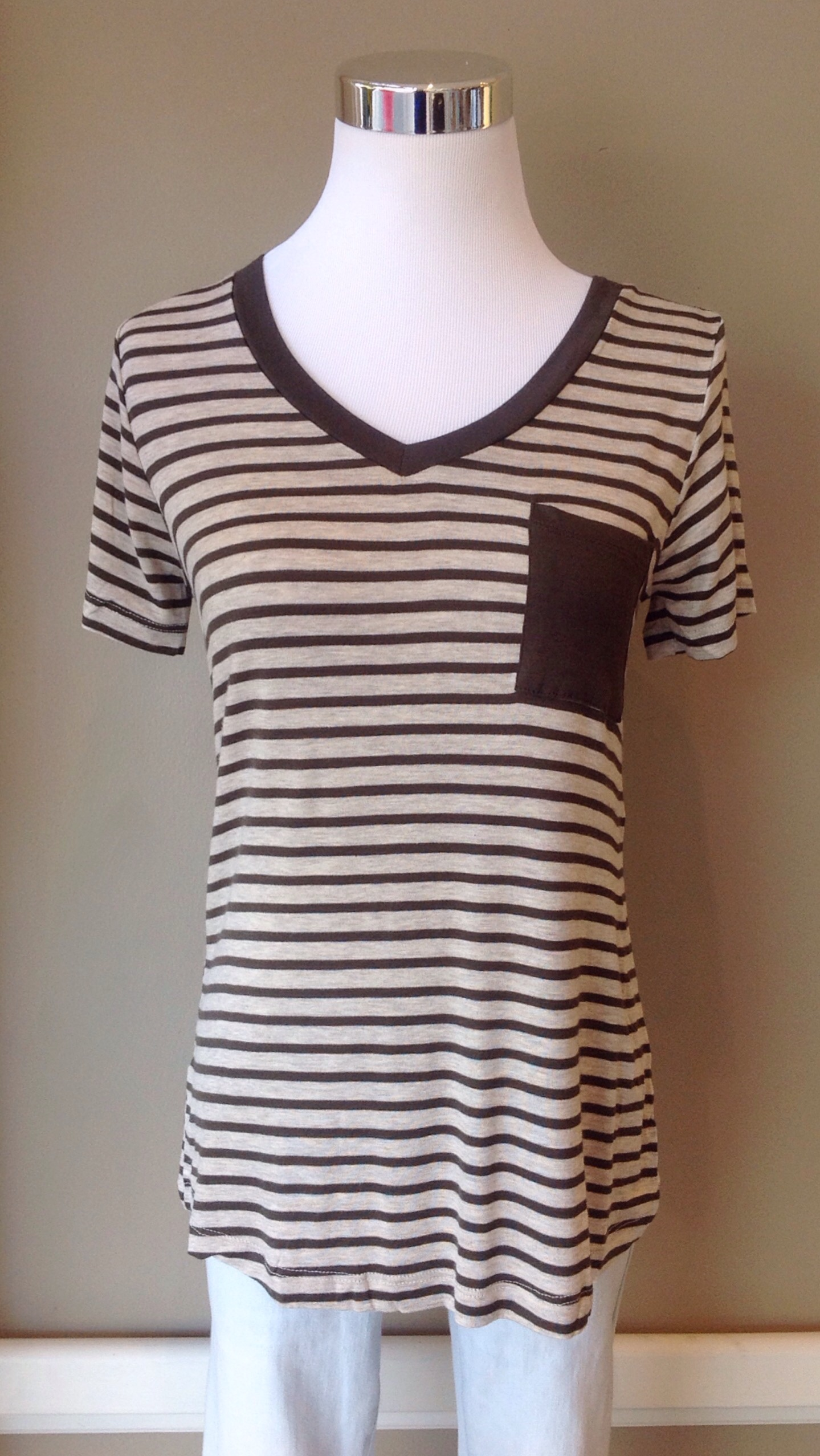 Soft knit tee in olive/oatmeal stripe, $24