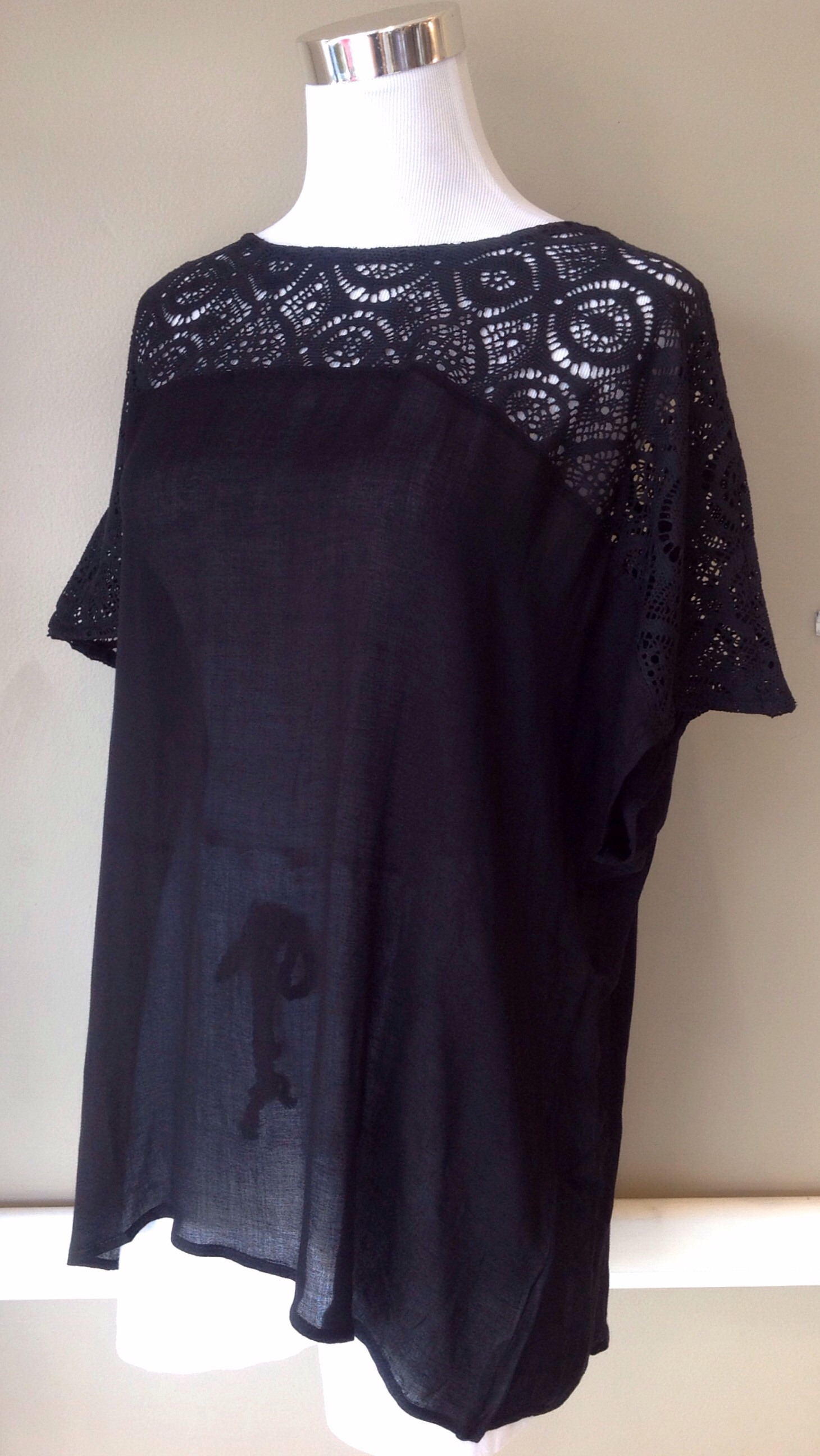 Black lightweight blouse with lace yoke, $38