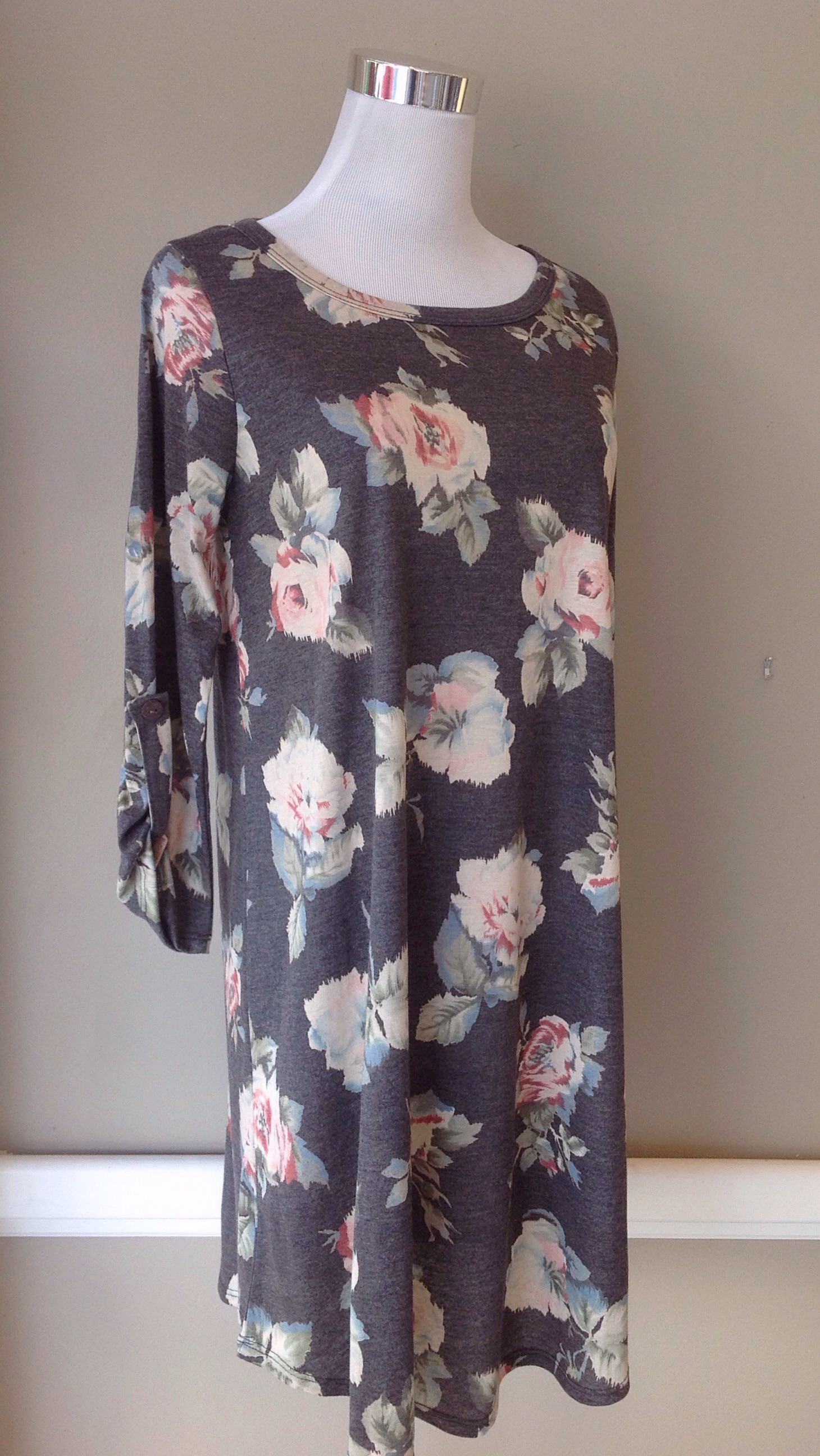 Charcoal floral print dress with button tab sleeves, $42