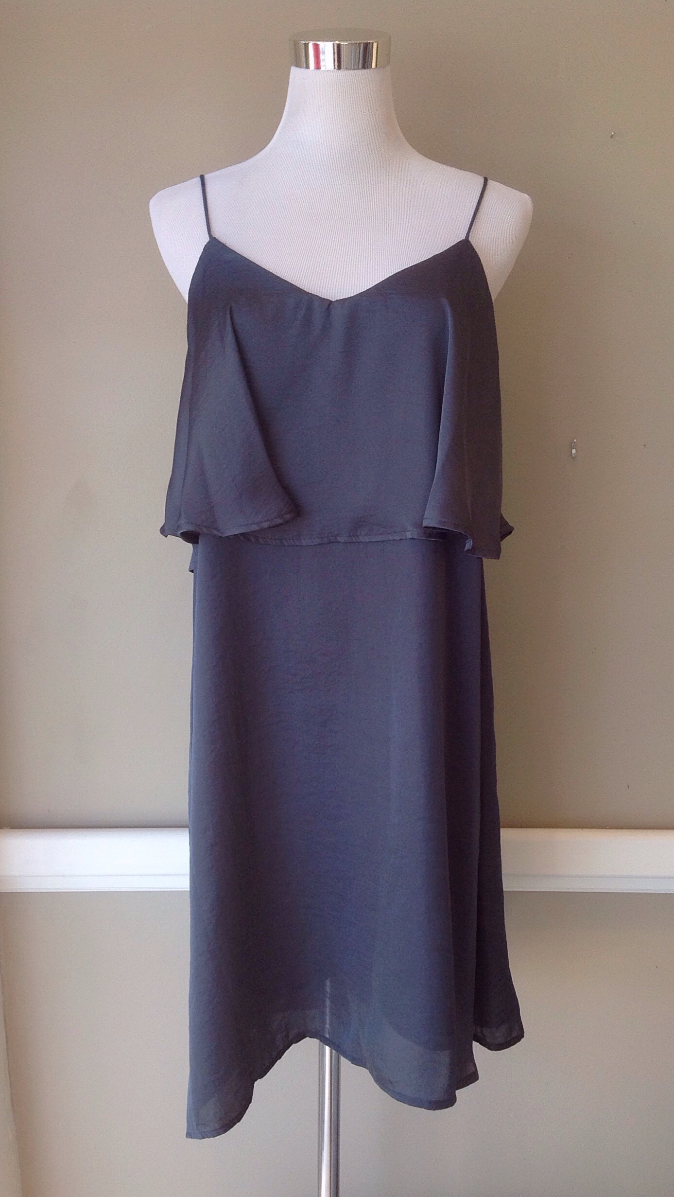 Charcoal party dress with tiered bodice, $35