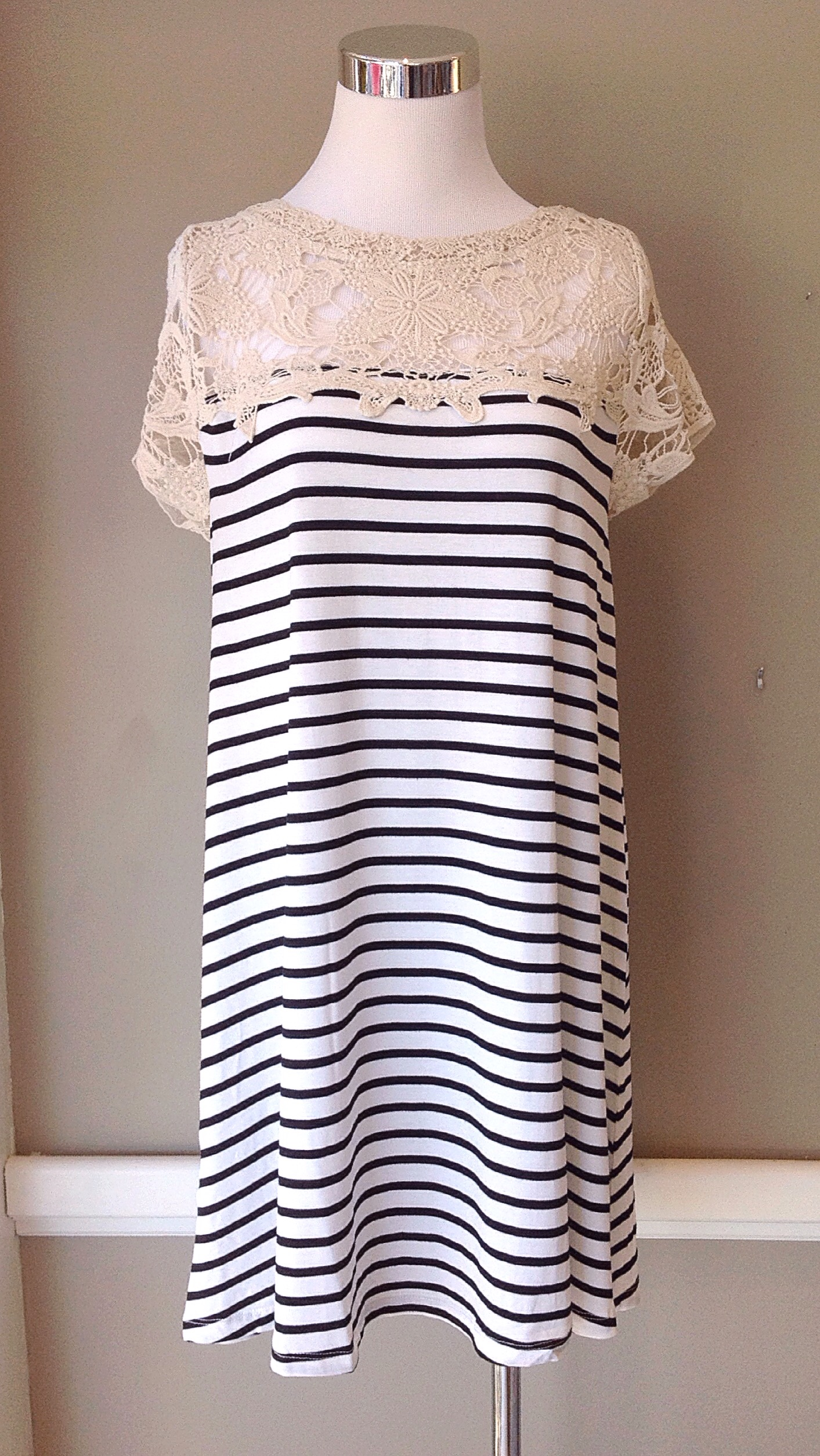 Lace and stripe tunic dress, $38