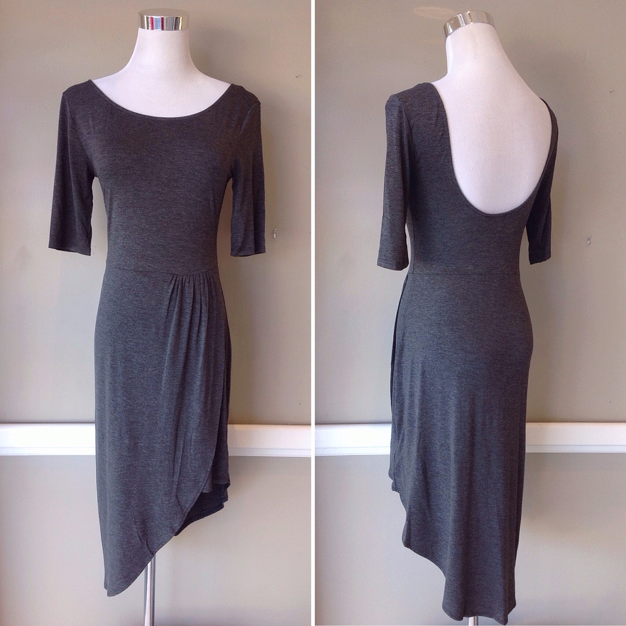 Charcoal knit dress with asymmetrical hem and scoop back, $38