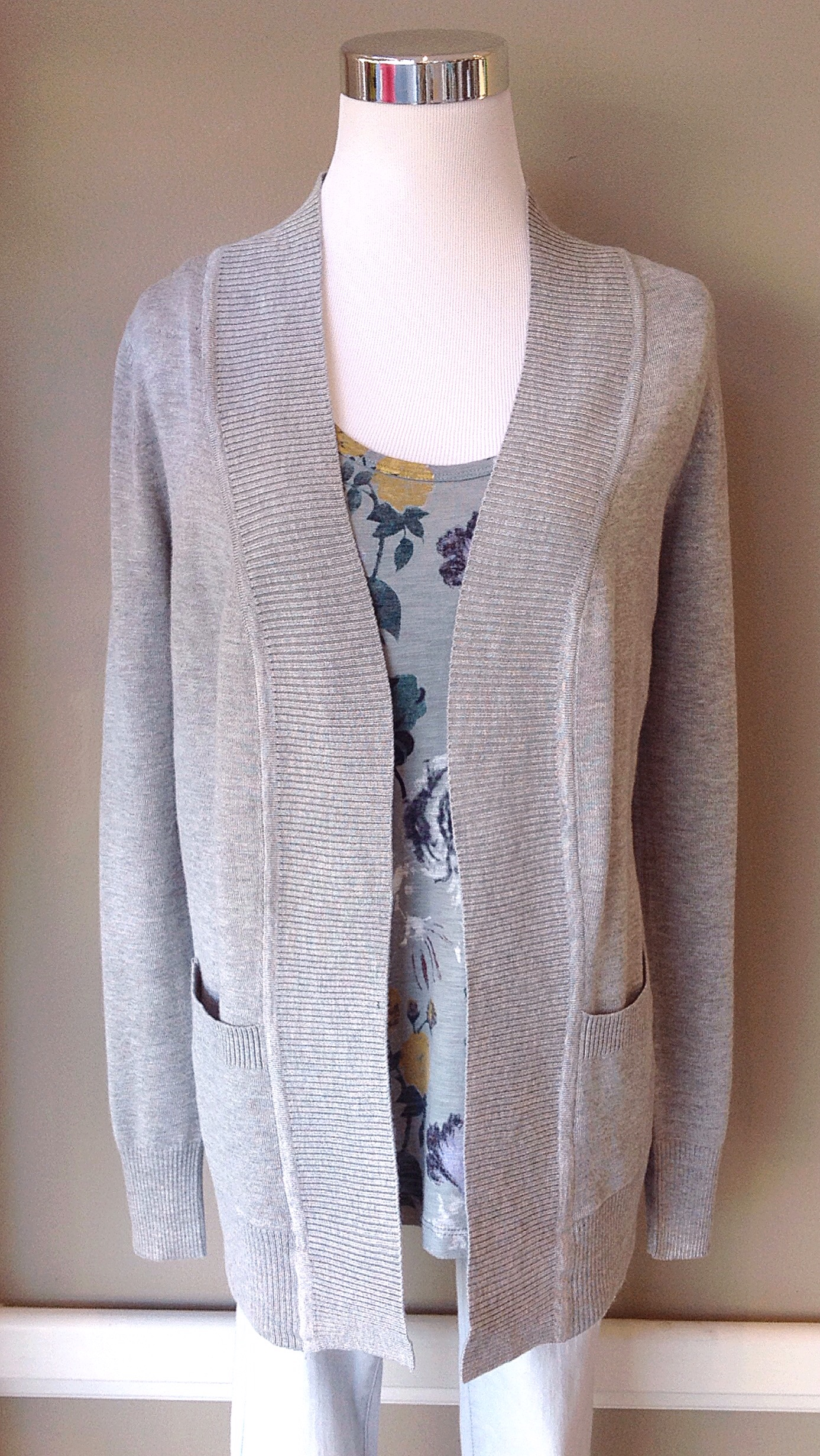 Soft knit cardigan with patch pockets in heather grey, $34