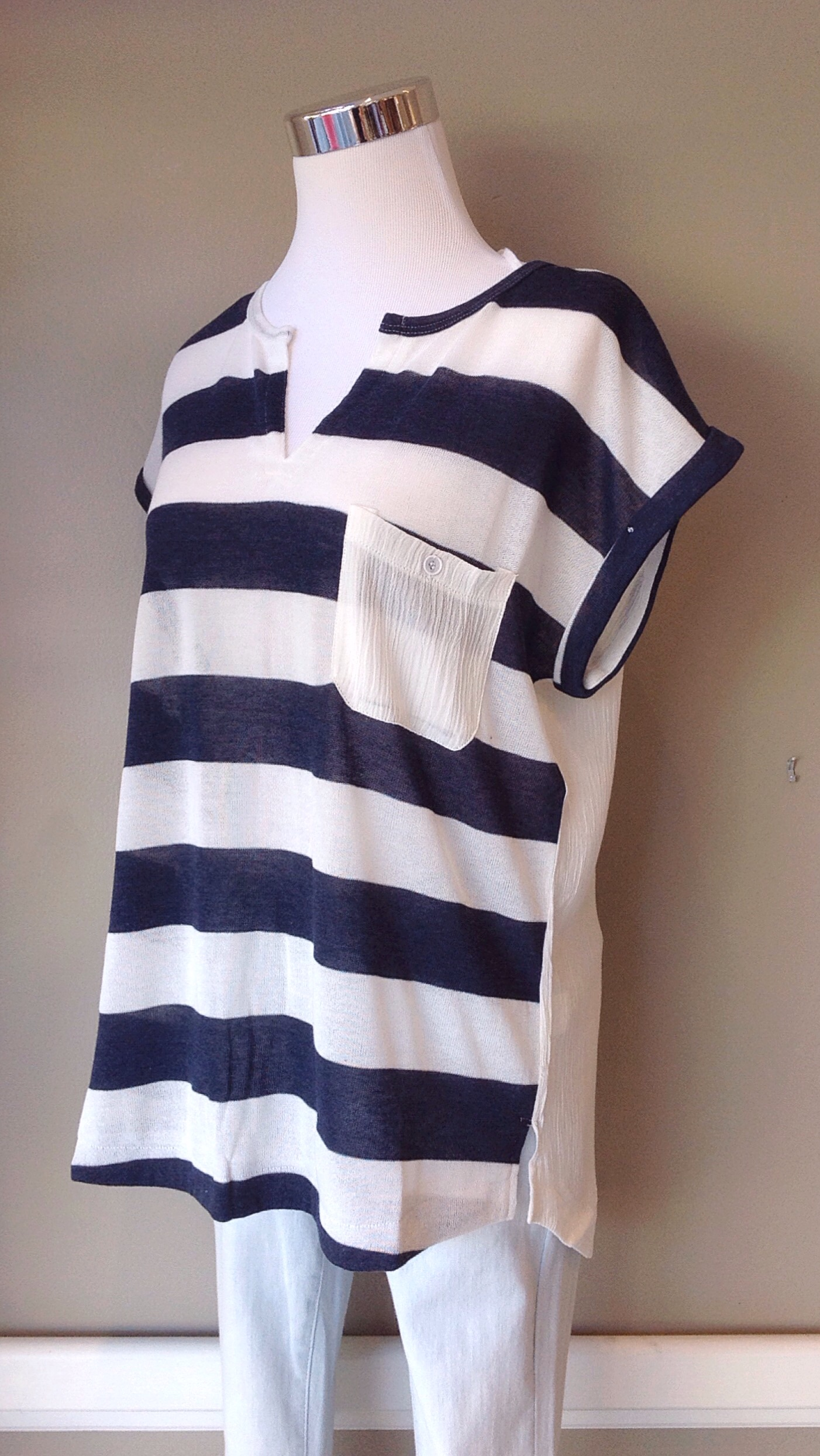 Knit short sleeve top in navy and white stripe, $32