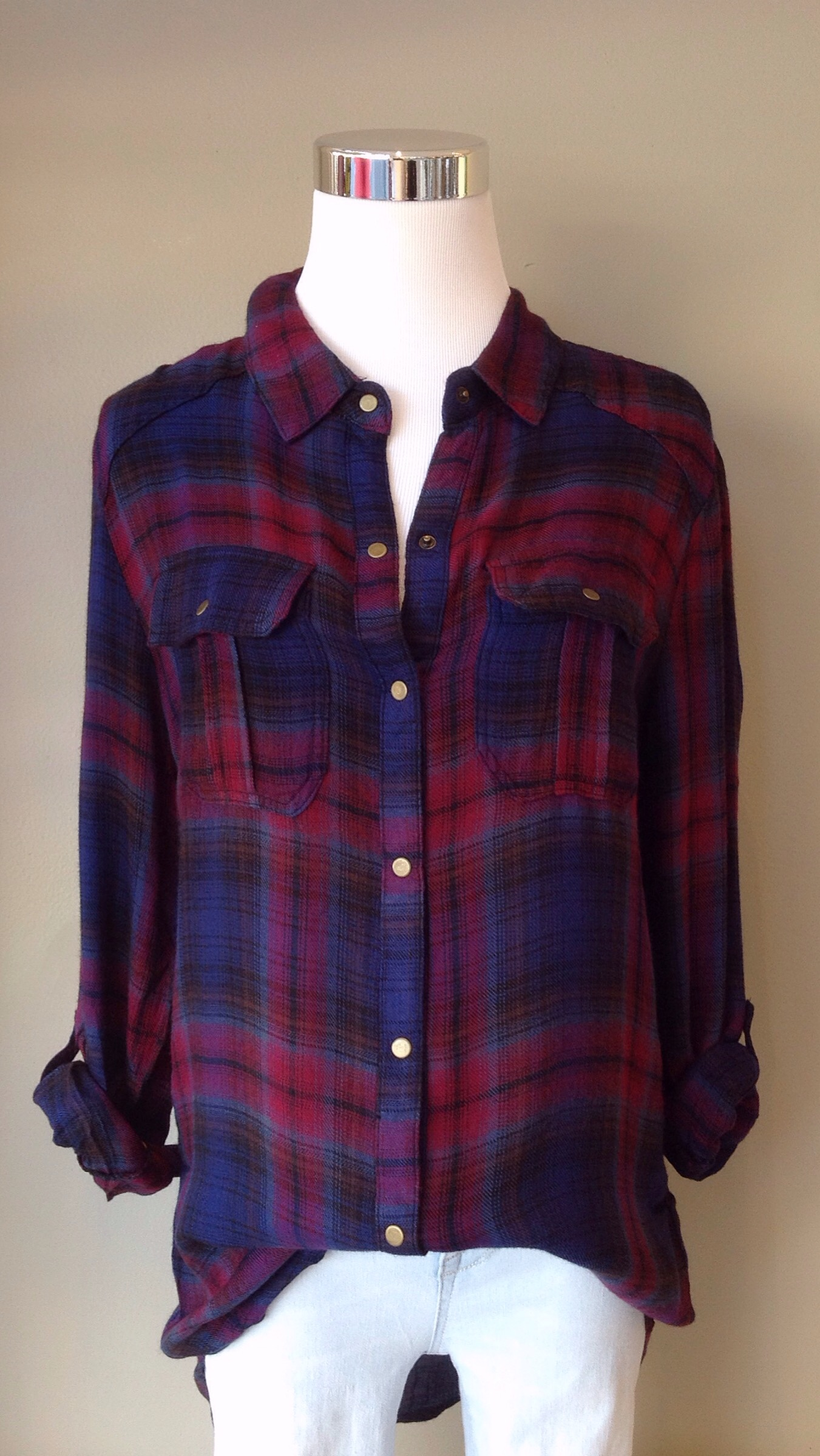 Lightweight plaid button-down top in navy/wine, $34