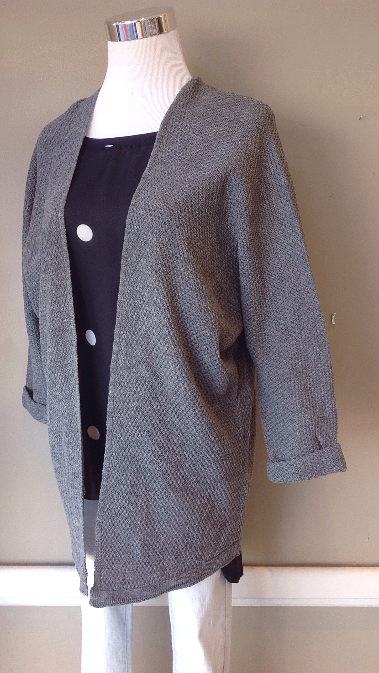 Long, dolman sleeve knit cardigan in heather grey. Also available in navy.