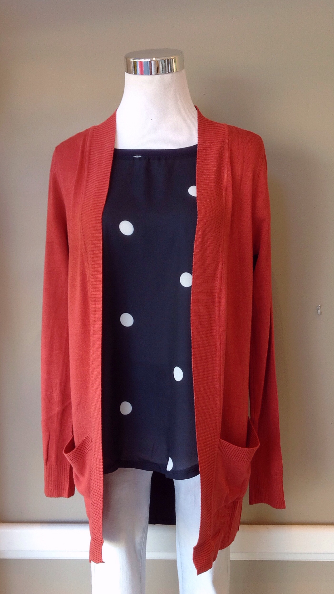 Open front knit cardigan In persimmon, $34. Also available in plum.