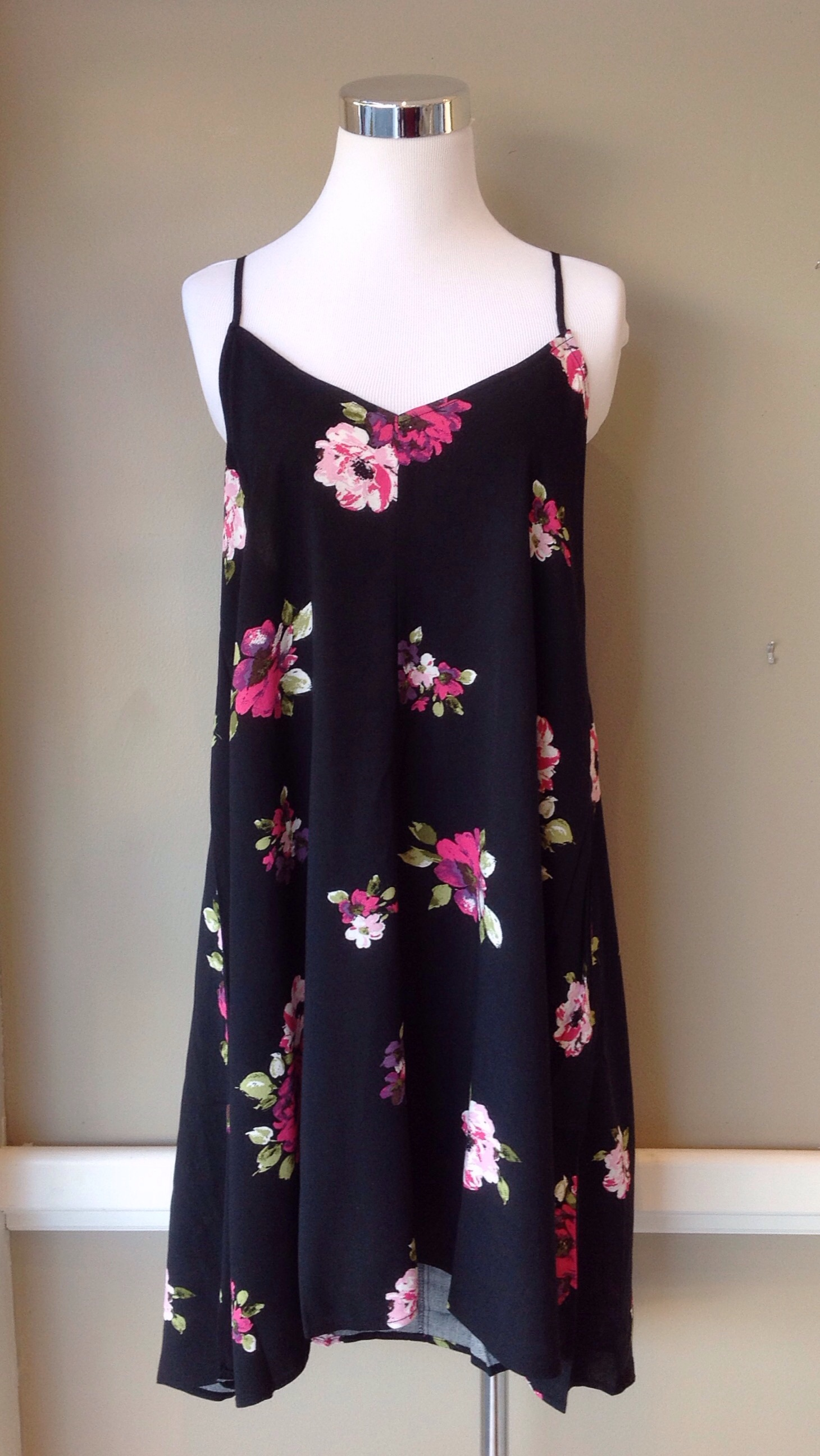 Floral tank dress in black multi, $35