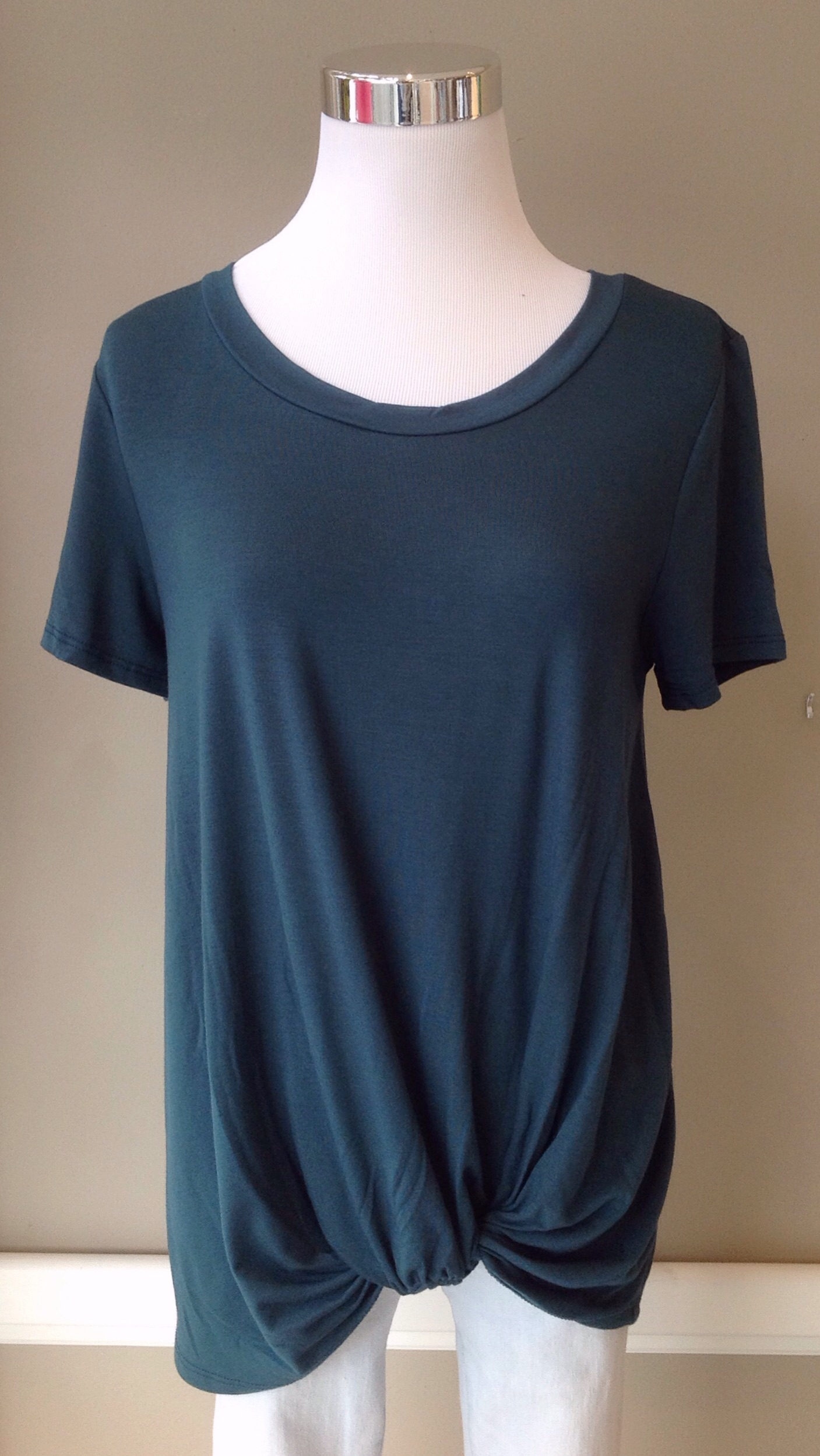 More emerald draped front tees, $28