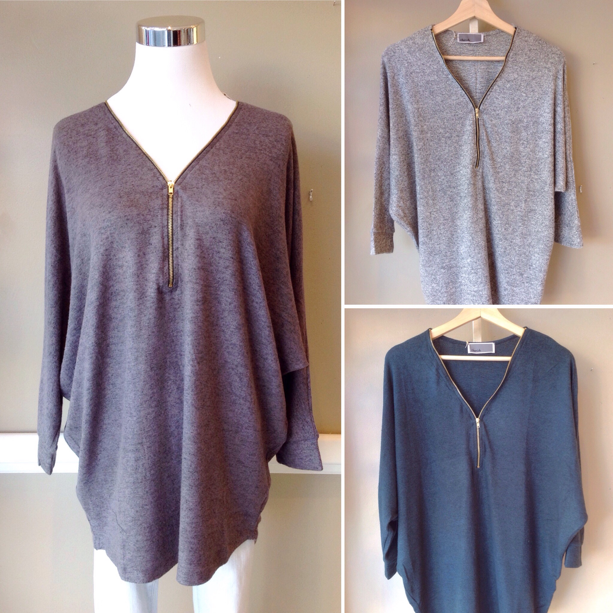 V-neck sweater with batwing sleeves and zipper front, $35. Available in charcoal, hunter green, and heather grey.