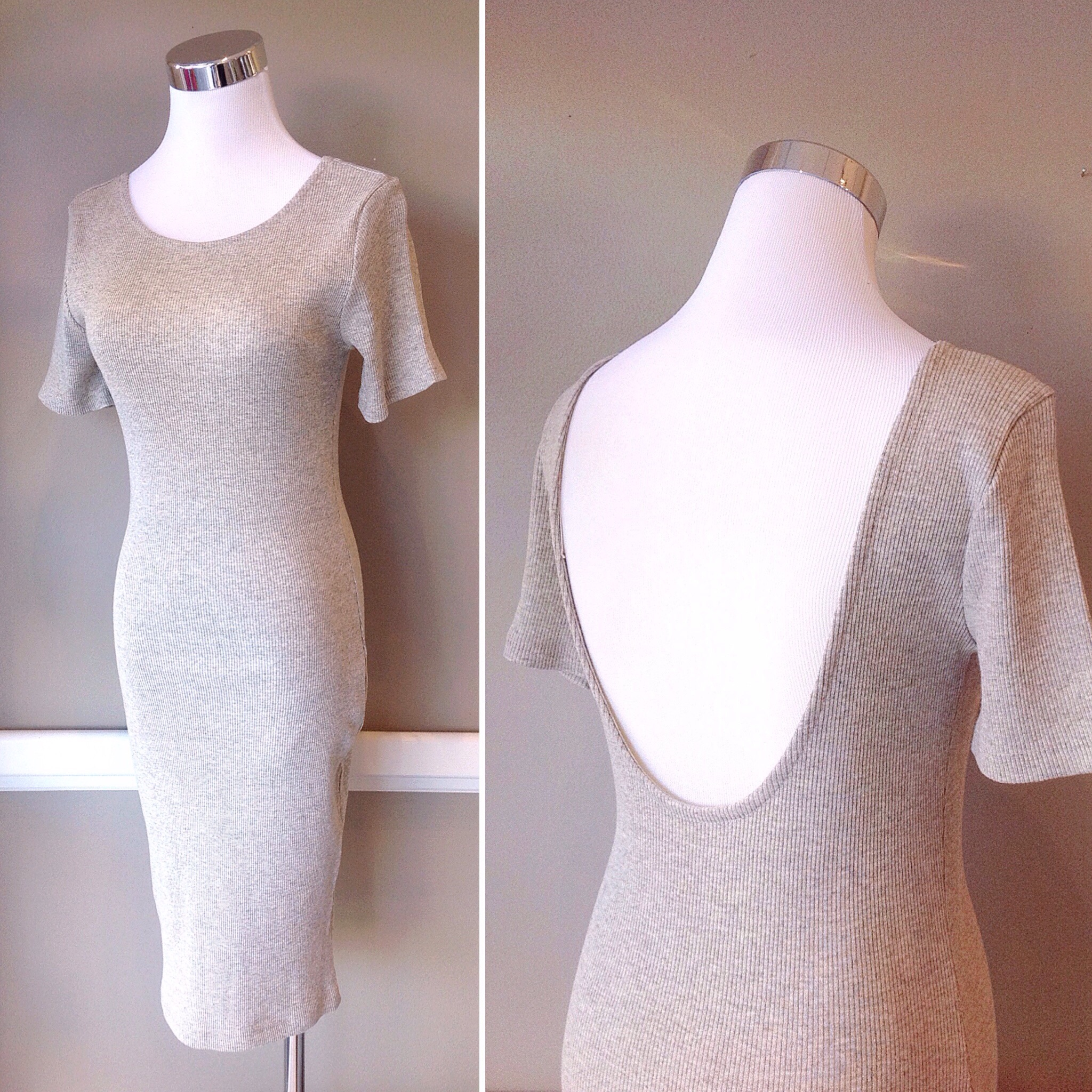 Oatmeal ribbed bodycon dress with scoop back, $35