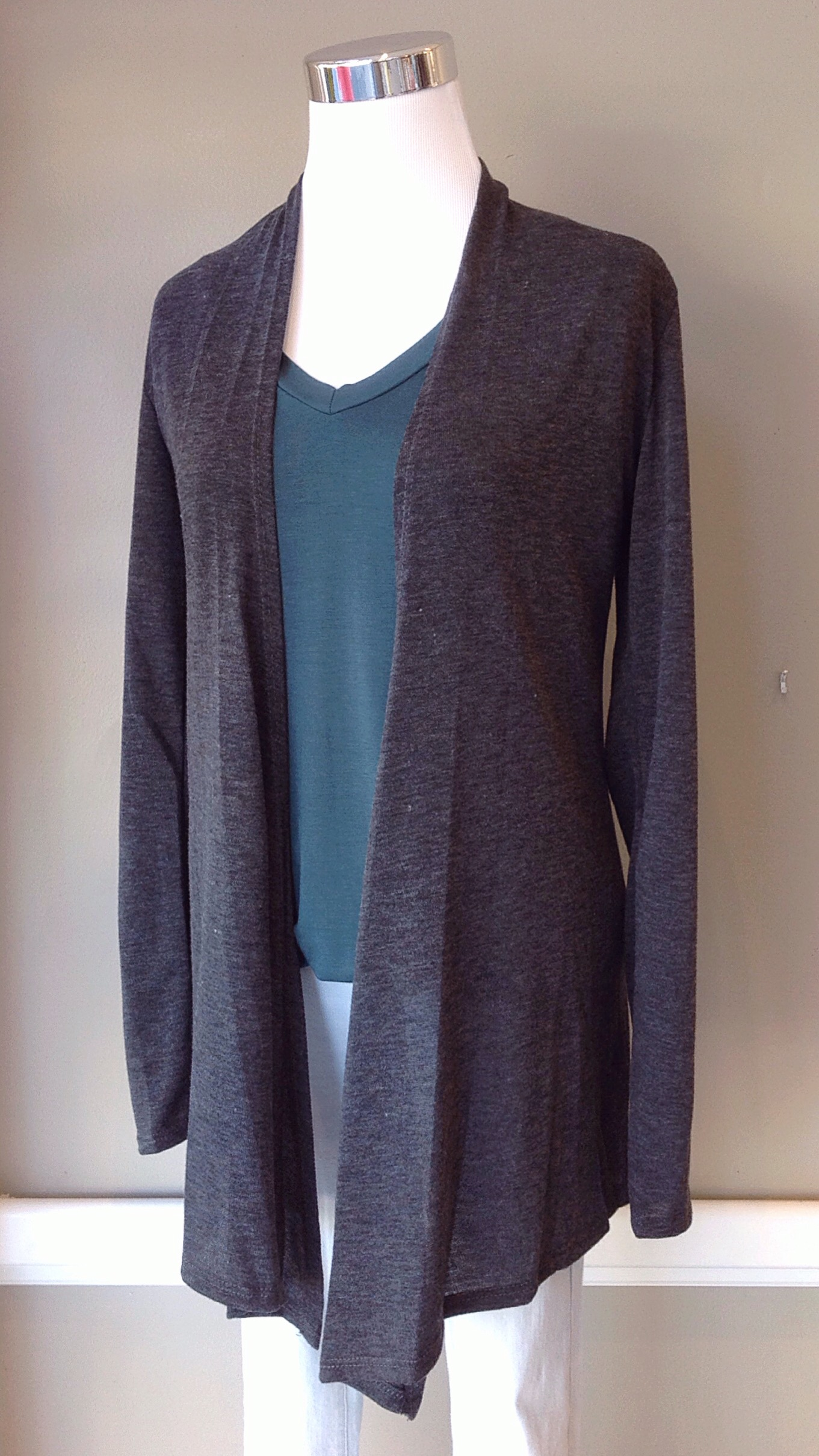 Lightweight open front cardigan in charcoal, $28. Also available in black.