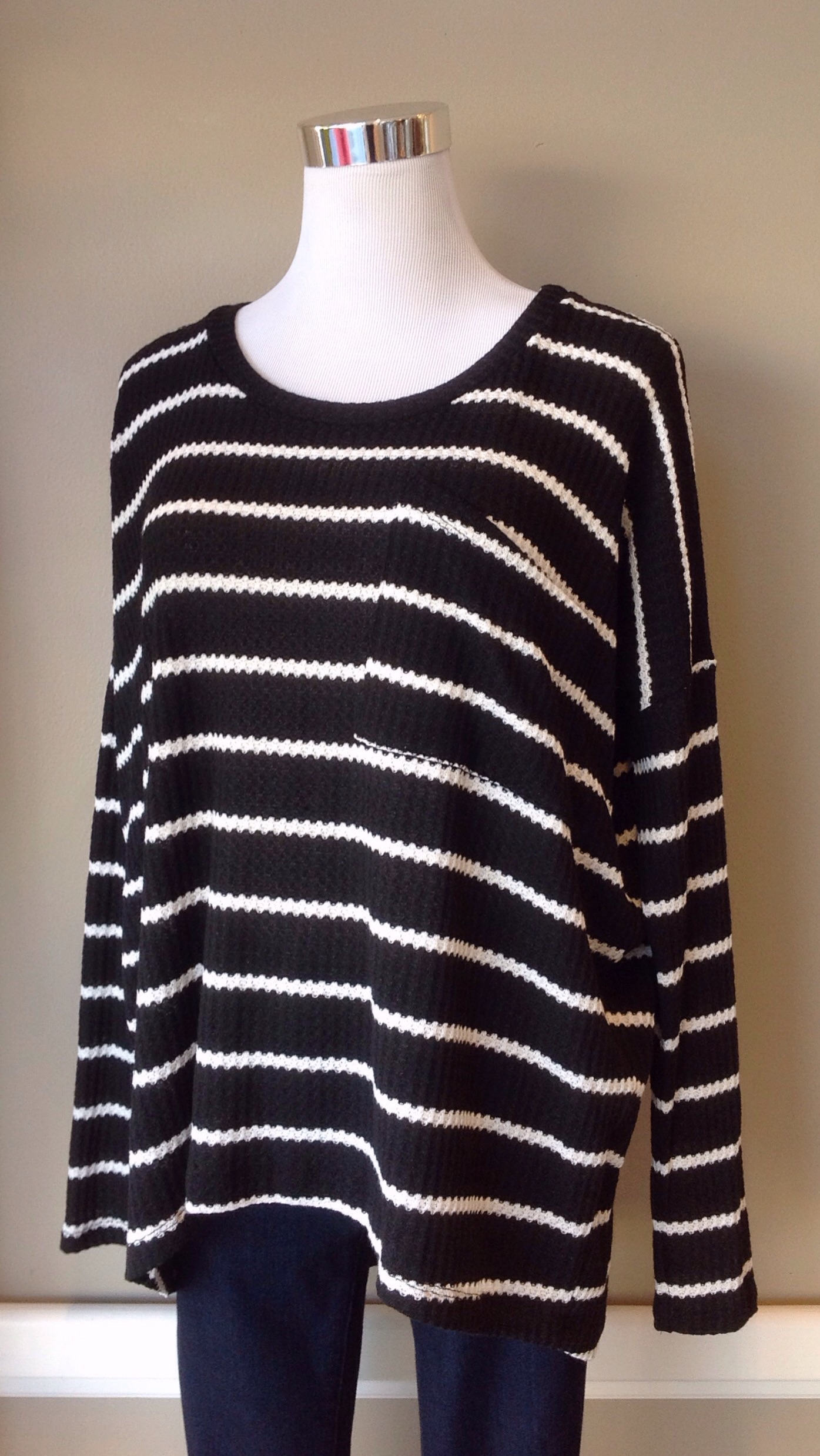 Boxy waffle knit sweater with front pocket, $32