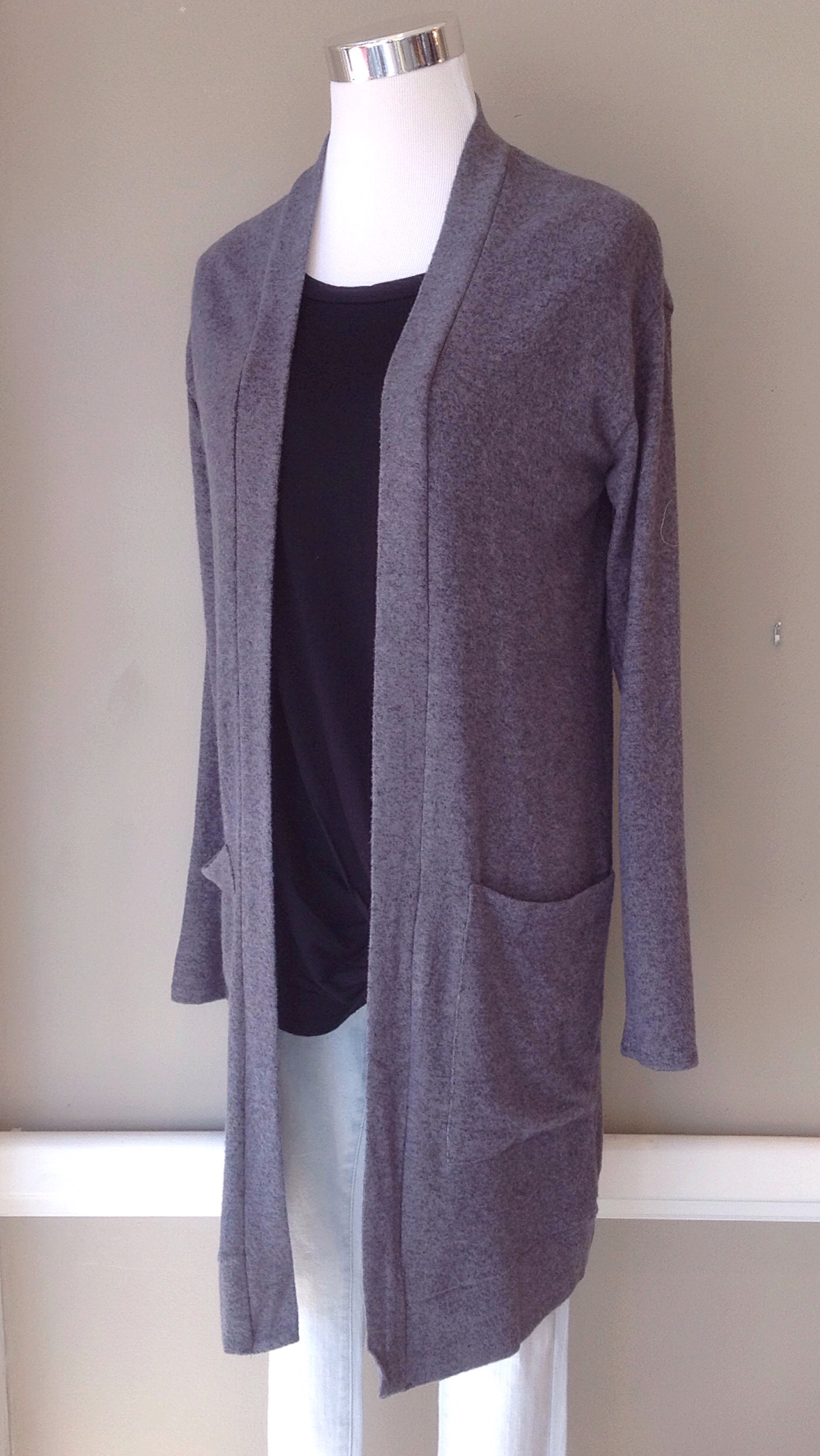Bestselling Cherish sweater knit cardigan in charcoal, $34