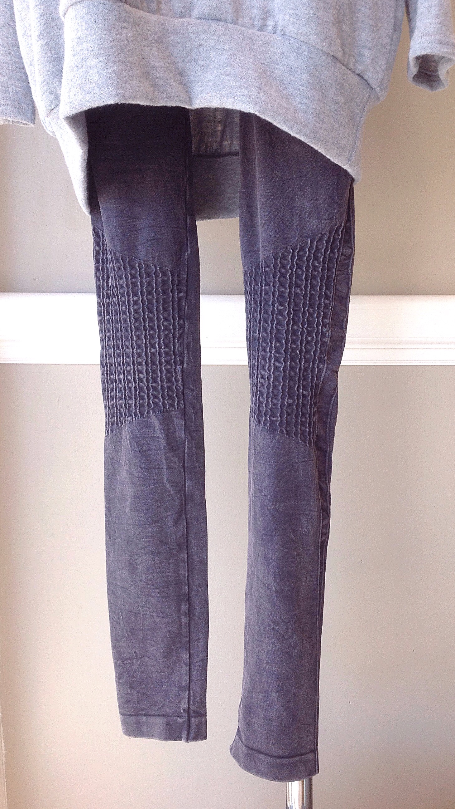 Midweight legging with shirring detail in mottled grey, $28