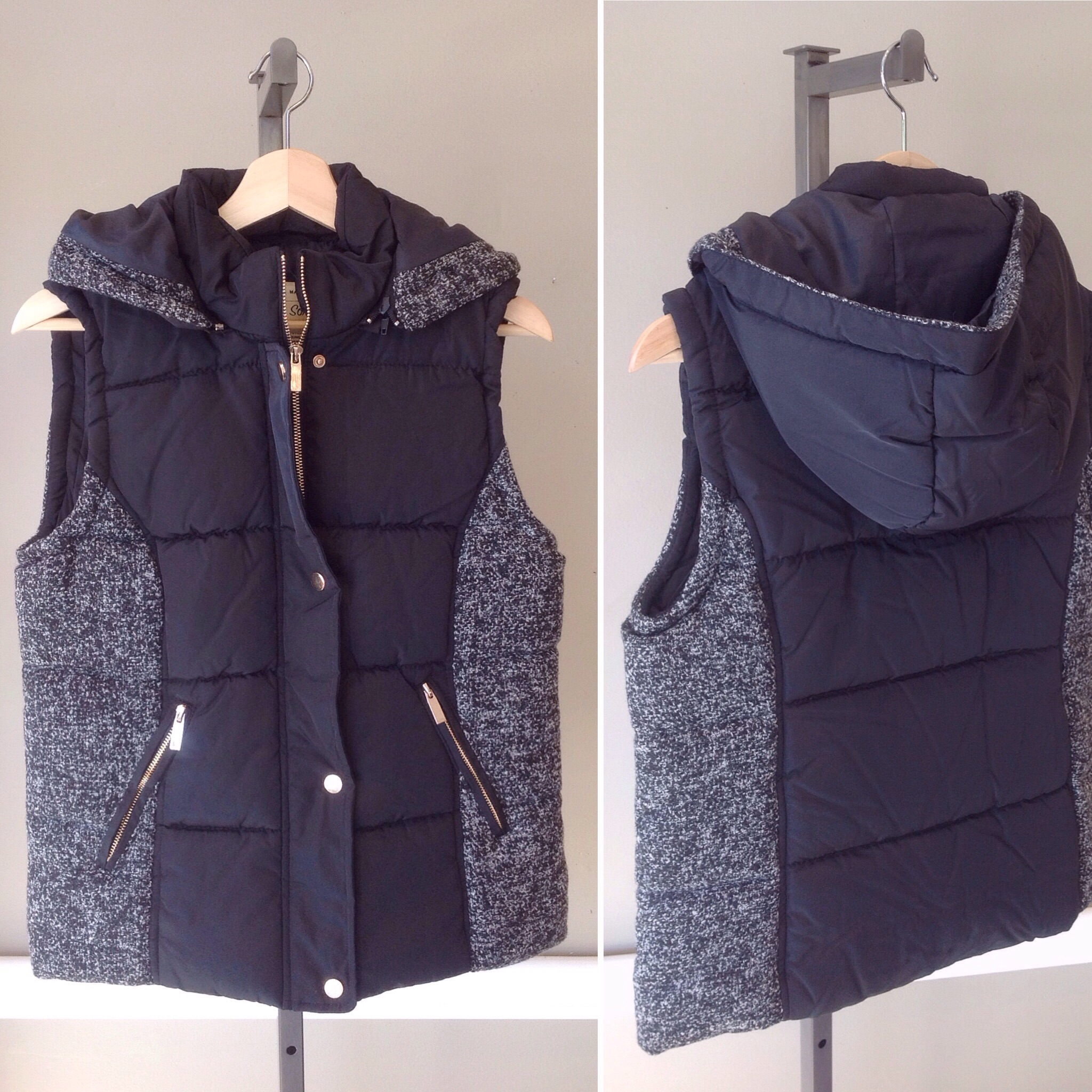 Puff vest with contrasting side panels and removable hood in black/grey, $45