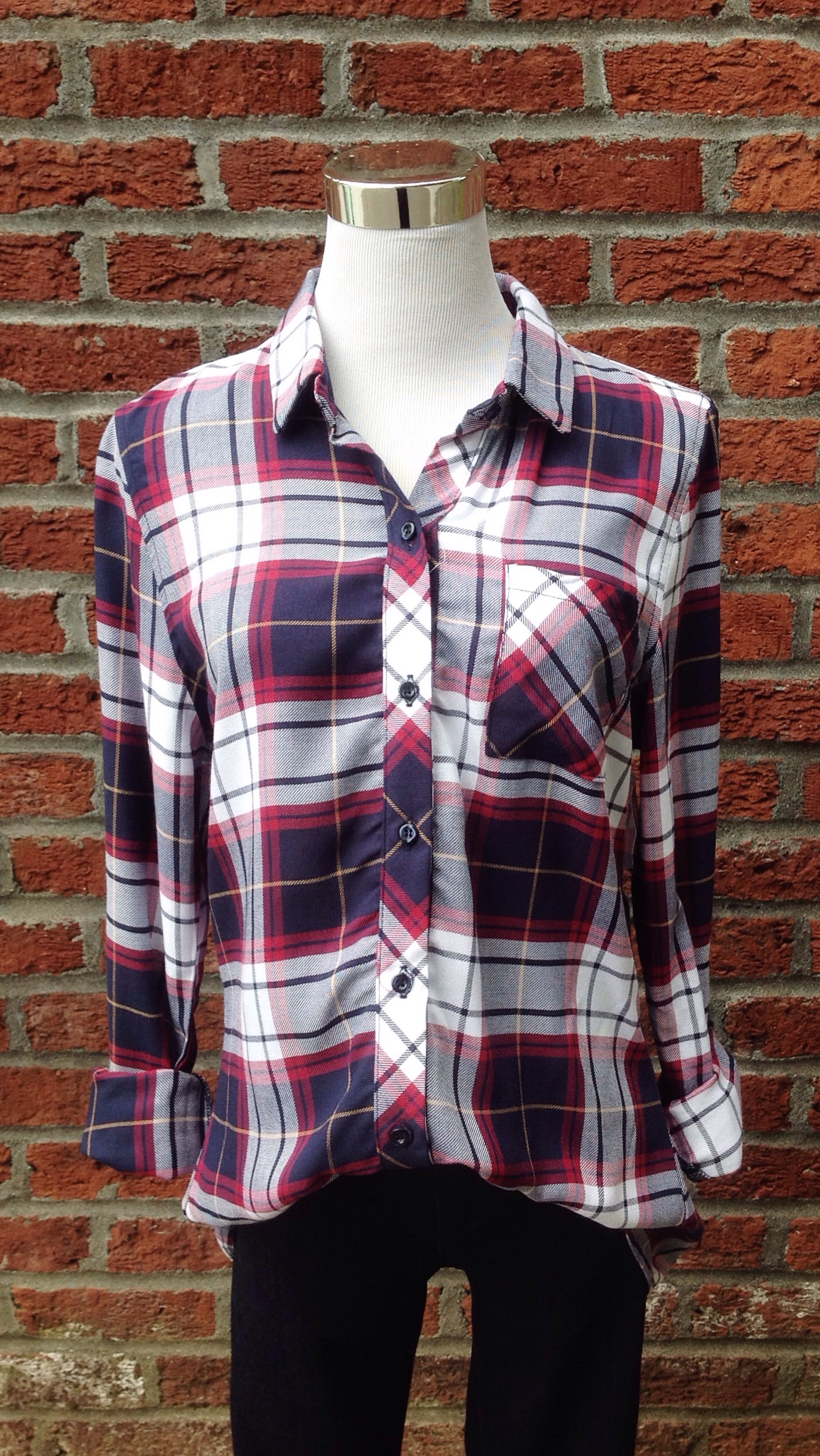 Rayon plaid shirt,$34