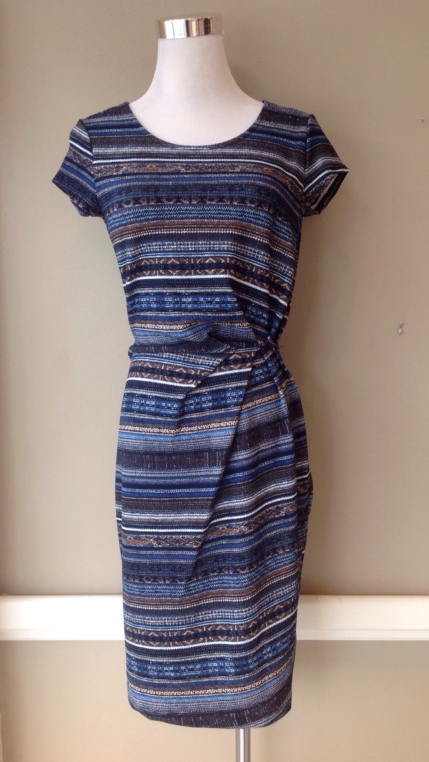 Textured knit dress with side gather in navy/multi stripe, $42