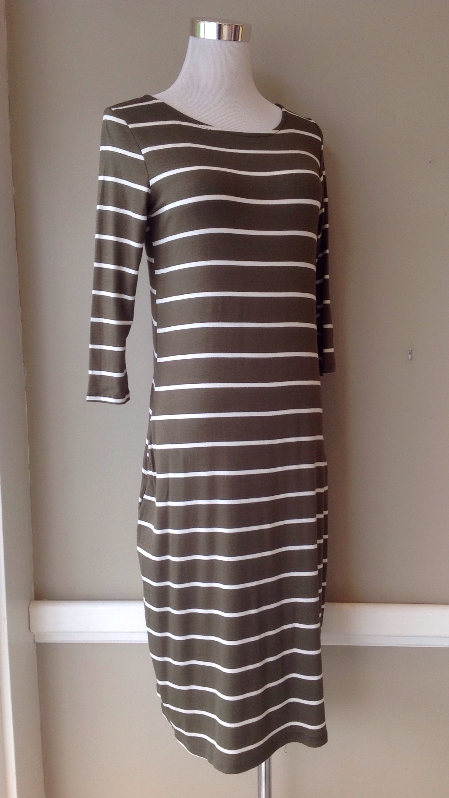 Olive and ivory jersey knit midi dress, $38