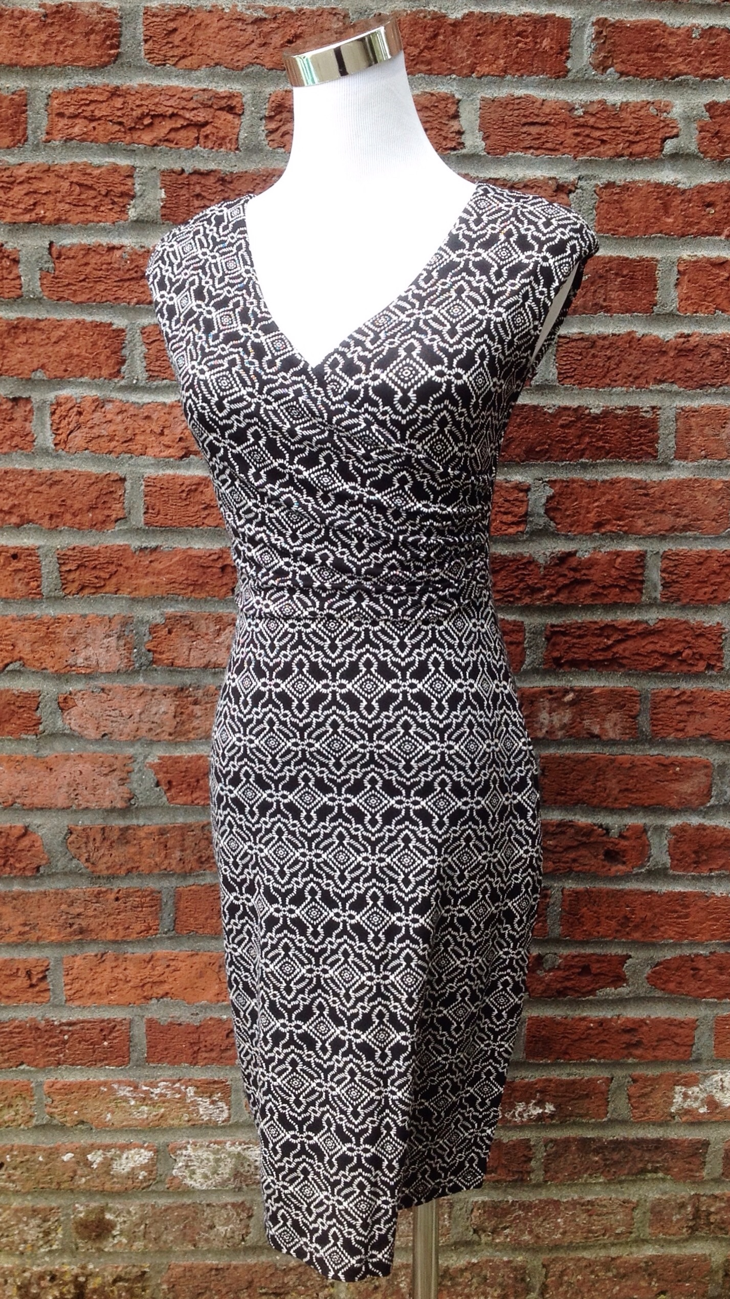 Fully lined black and white knit dress,  $45