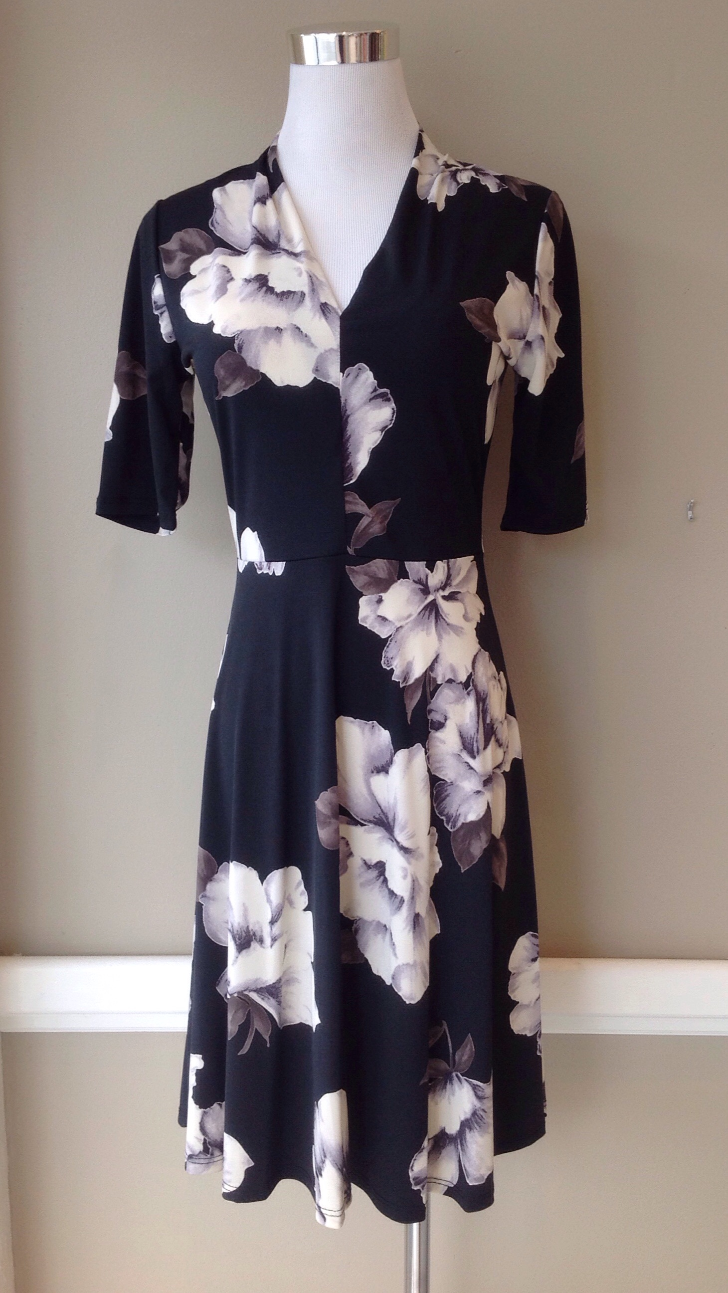 Black floral knit dress, $42
