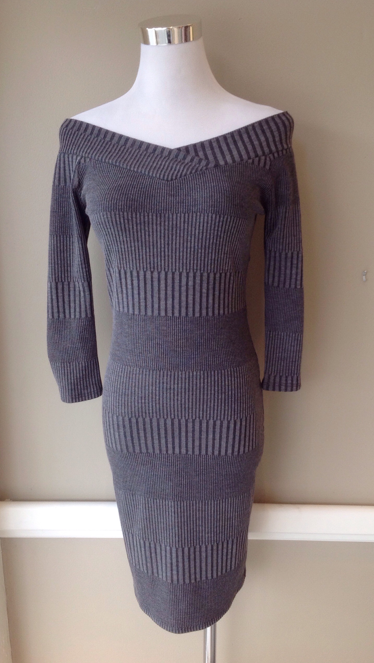 Grey off-the-shoulder bodycon dress, $38