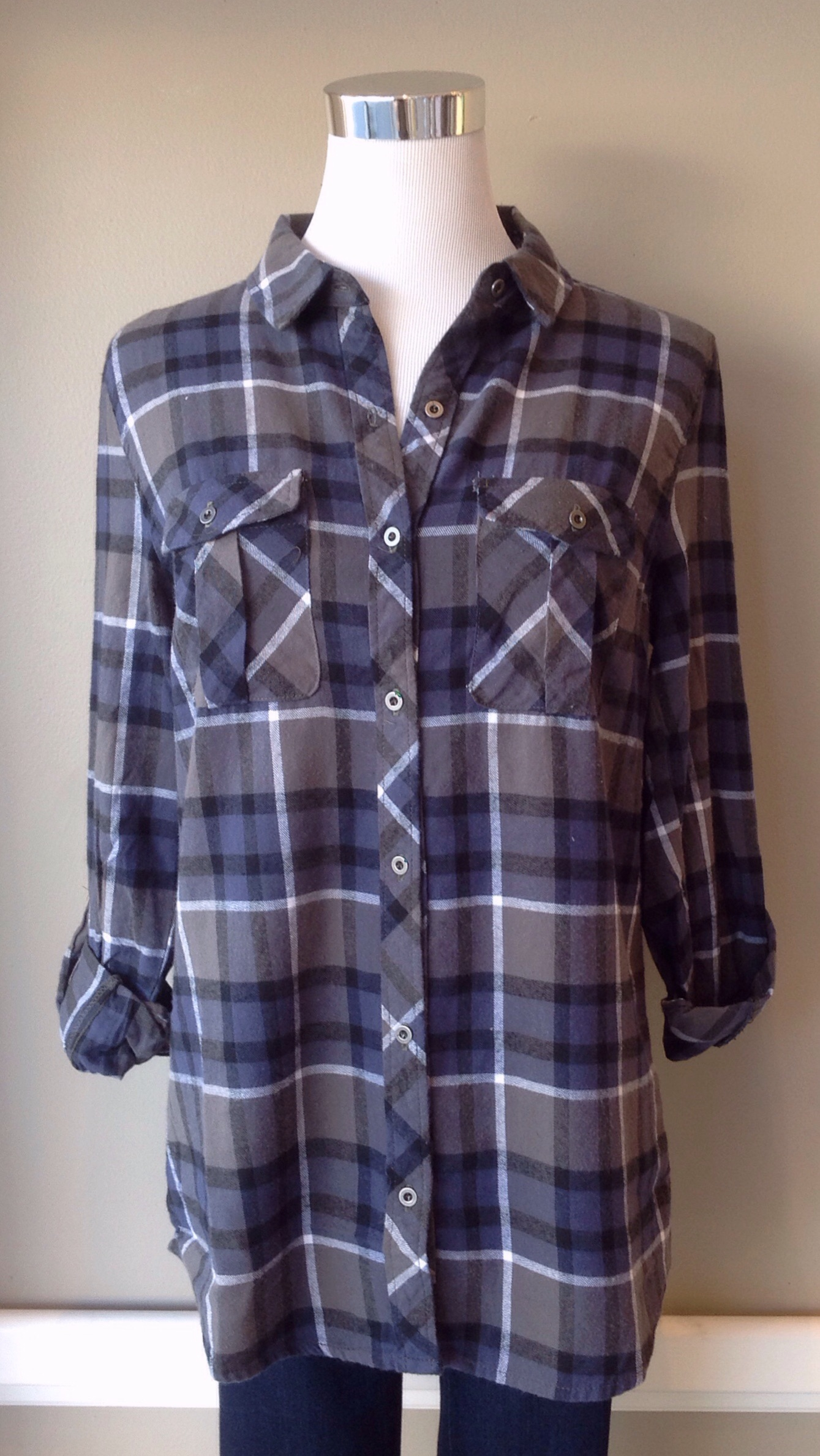 Cotton navy and grey plaid button-down with roll tab sleeves, $35
