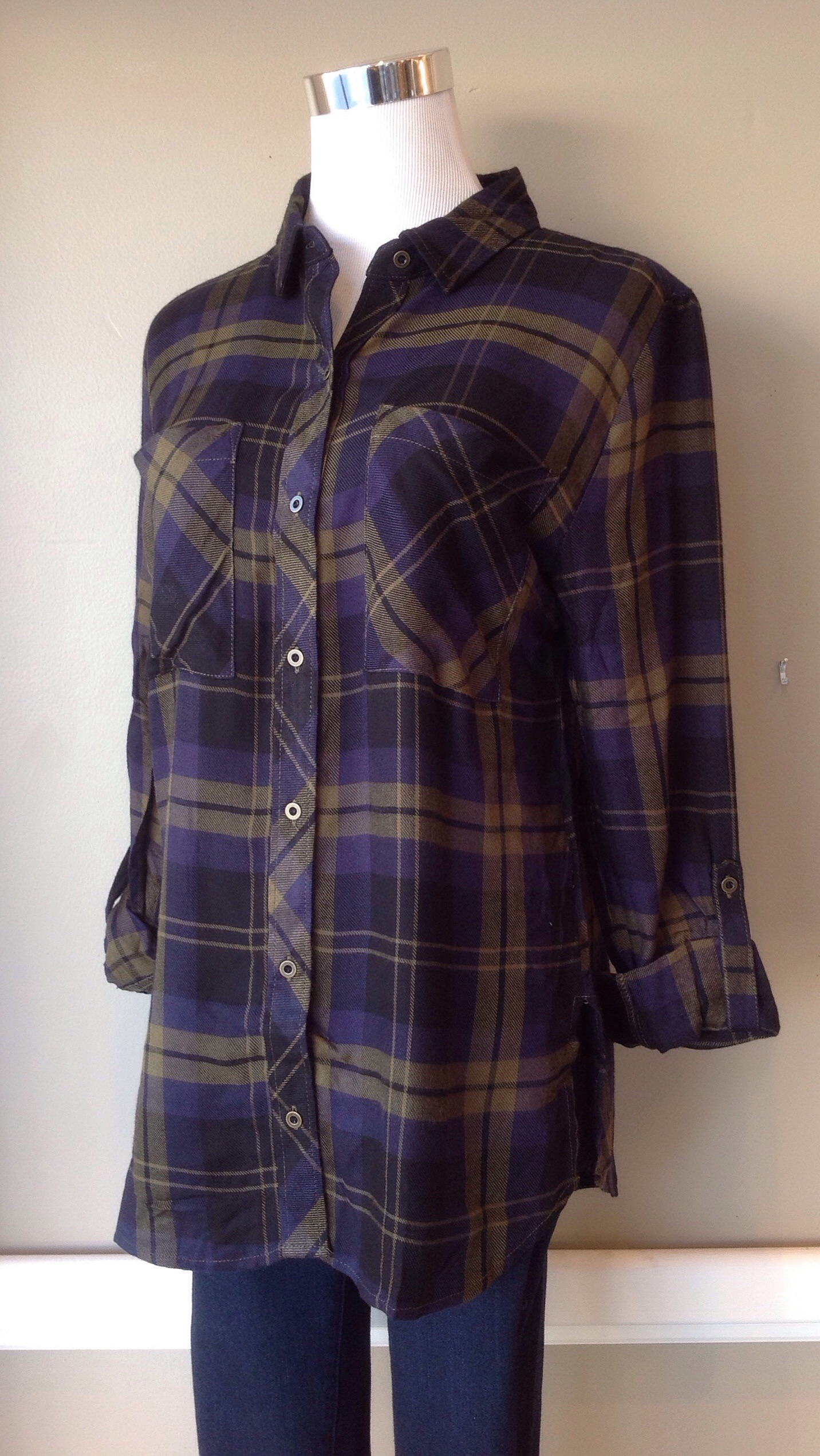 Rayon plaid button-down in olive/navy, $34