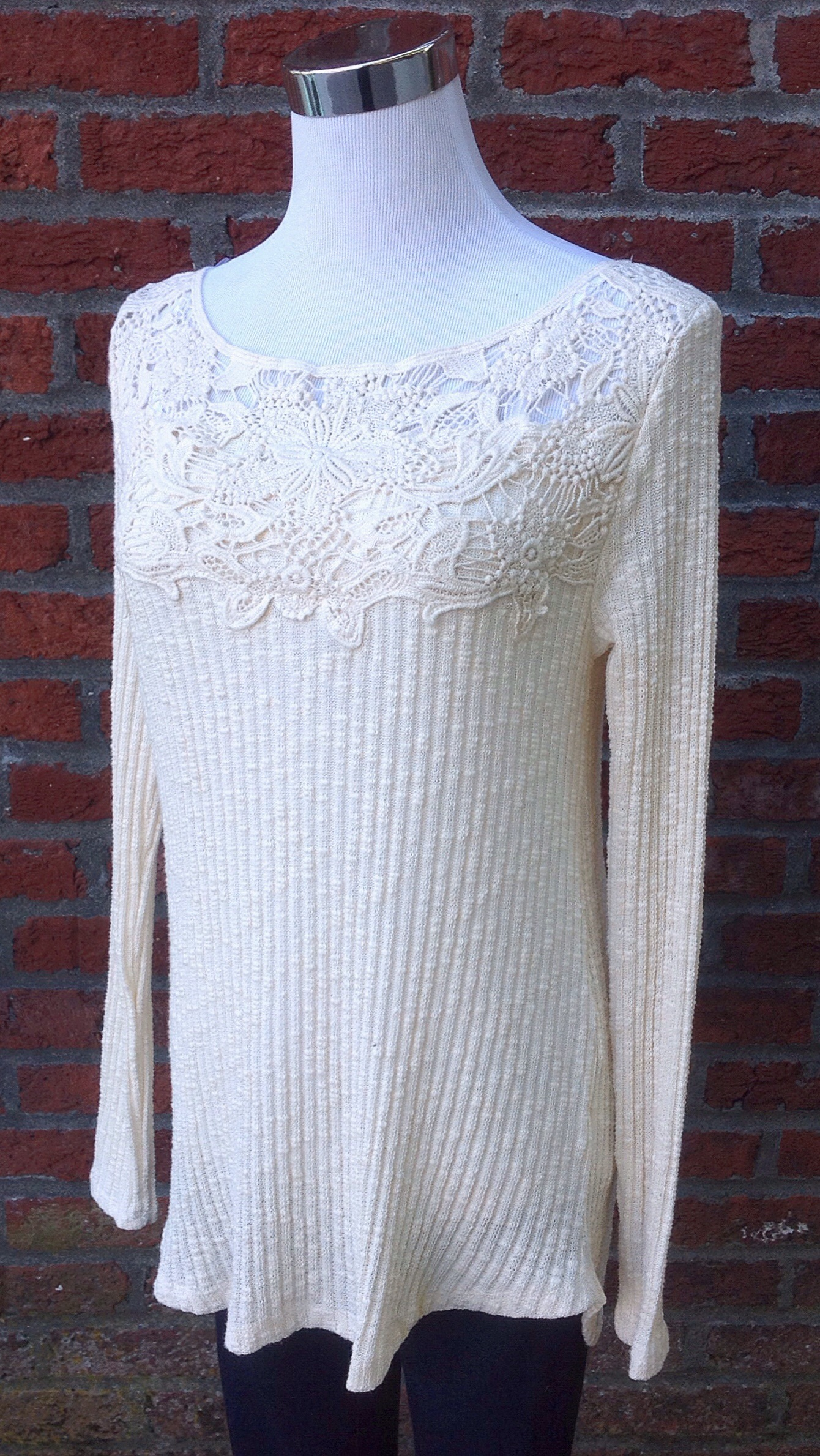 Rib knit top with crochet lace yoke in natural, $35