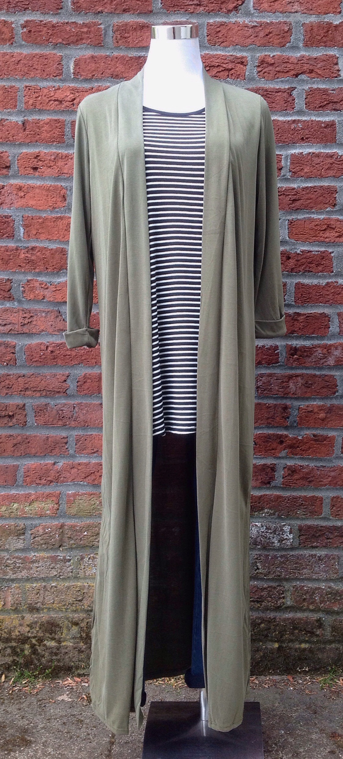 Woven maxi cardigan in olive