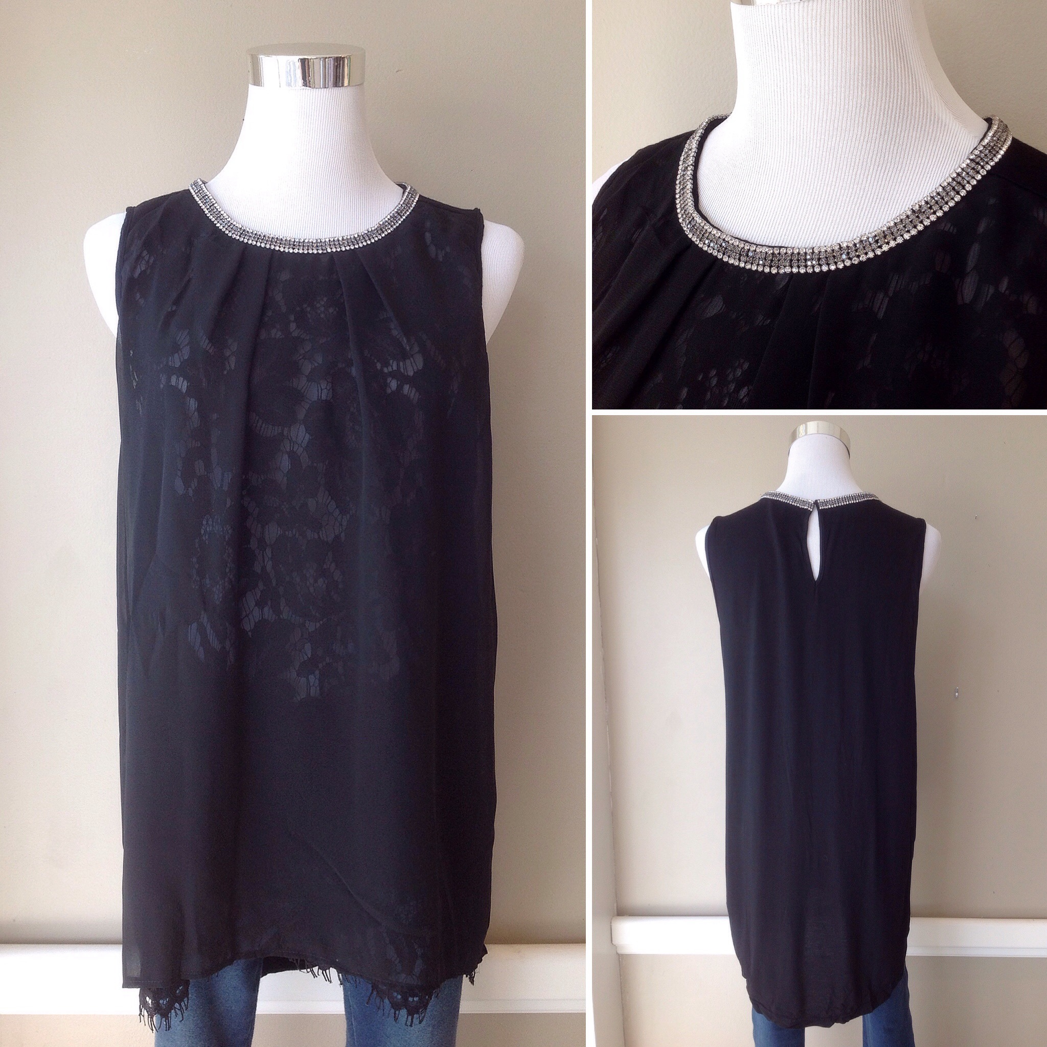 Chiffon and lace front tank with jeweled neck trim and high-low hem, $38