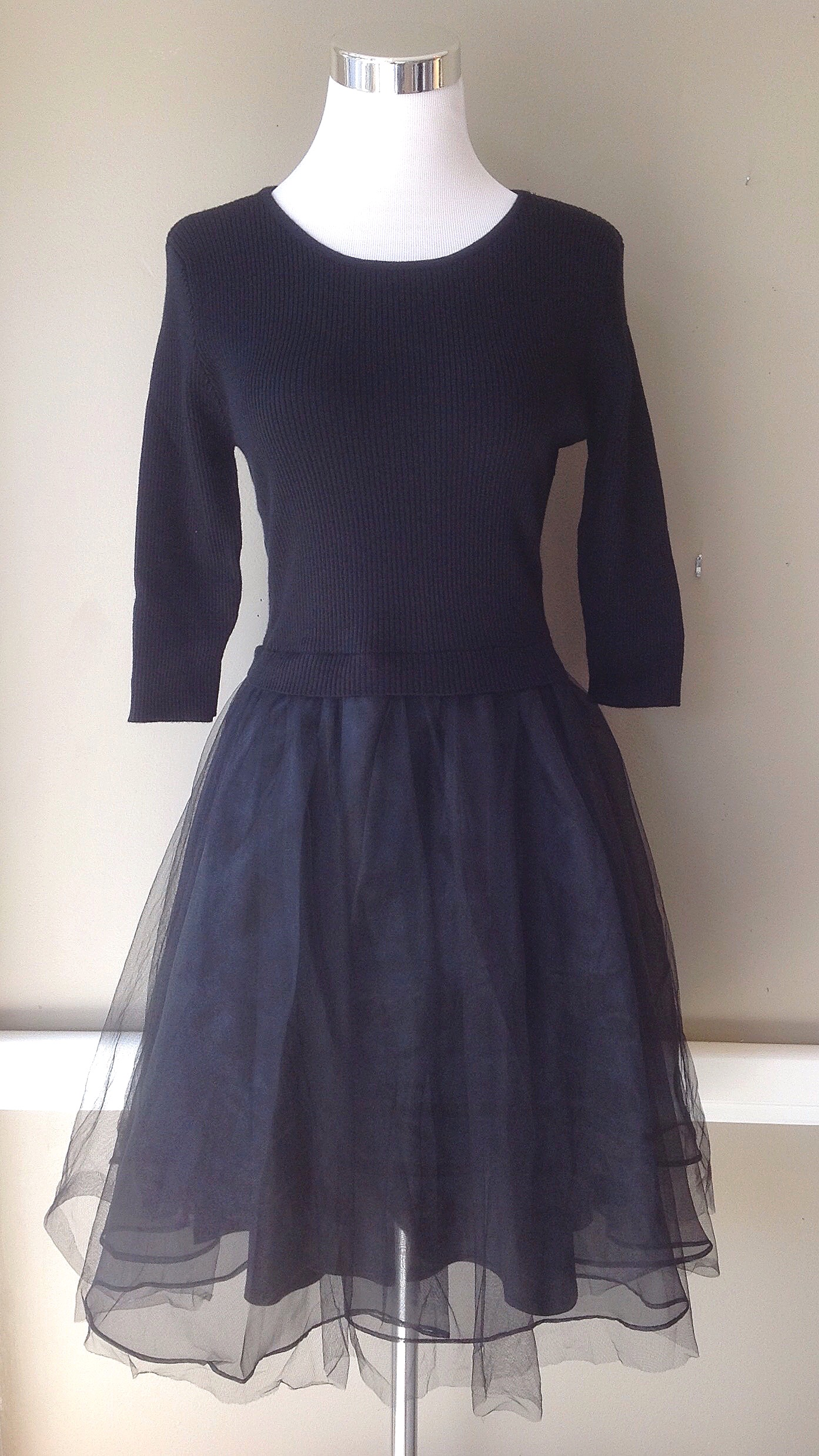 Black party dress with knit bodice, and tulle and chiffon skirt, $64