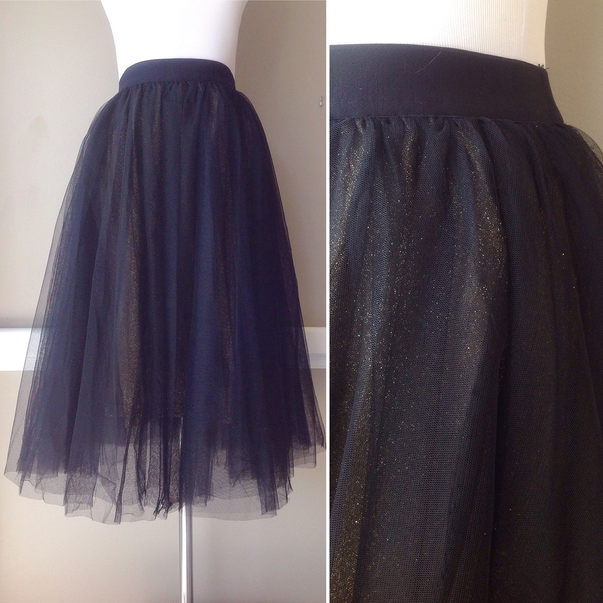 Tulle midi skirt with gold shimmer underskirt , $48