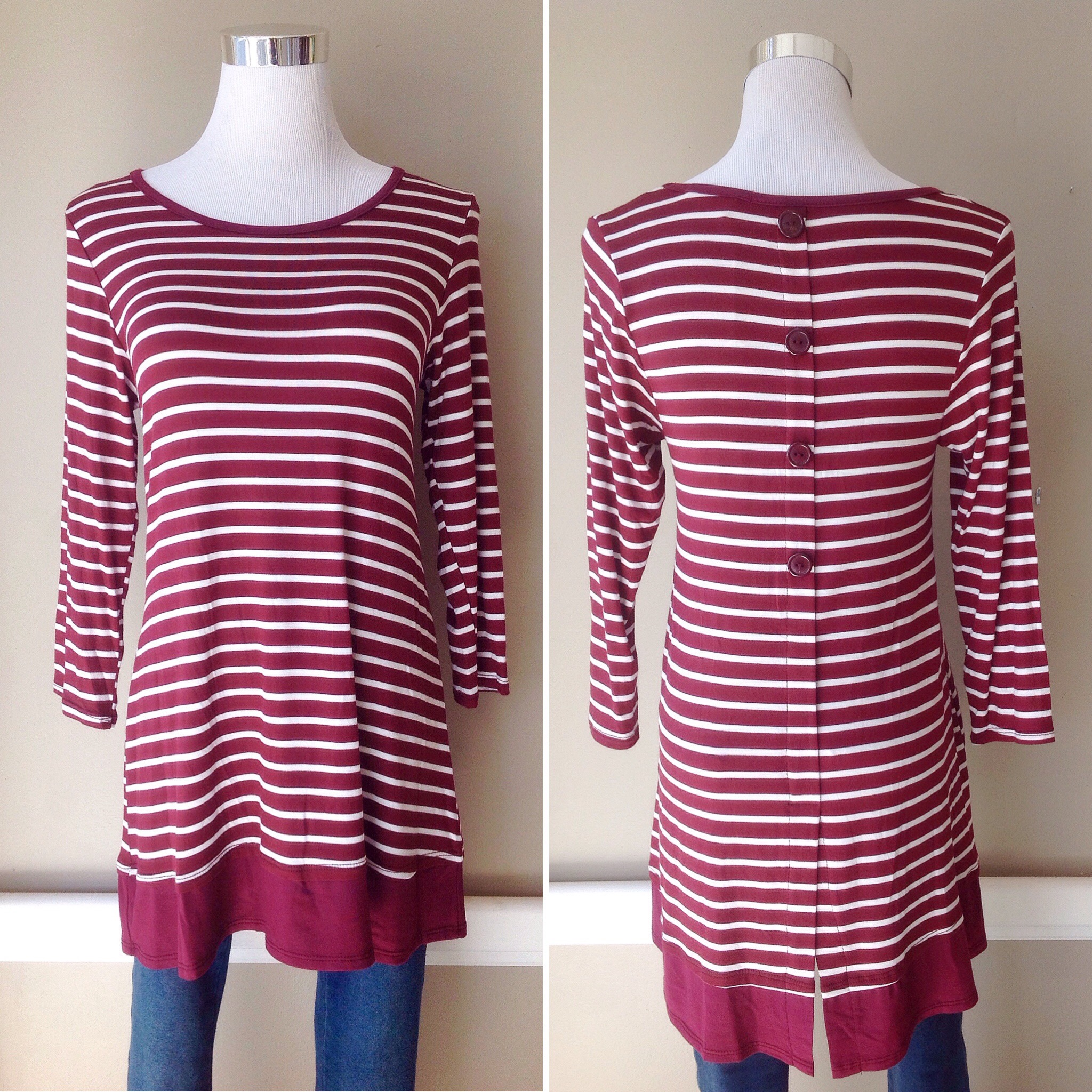 Burgundy stripe top with back buttons and tiered hem, $34