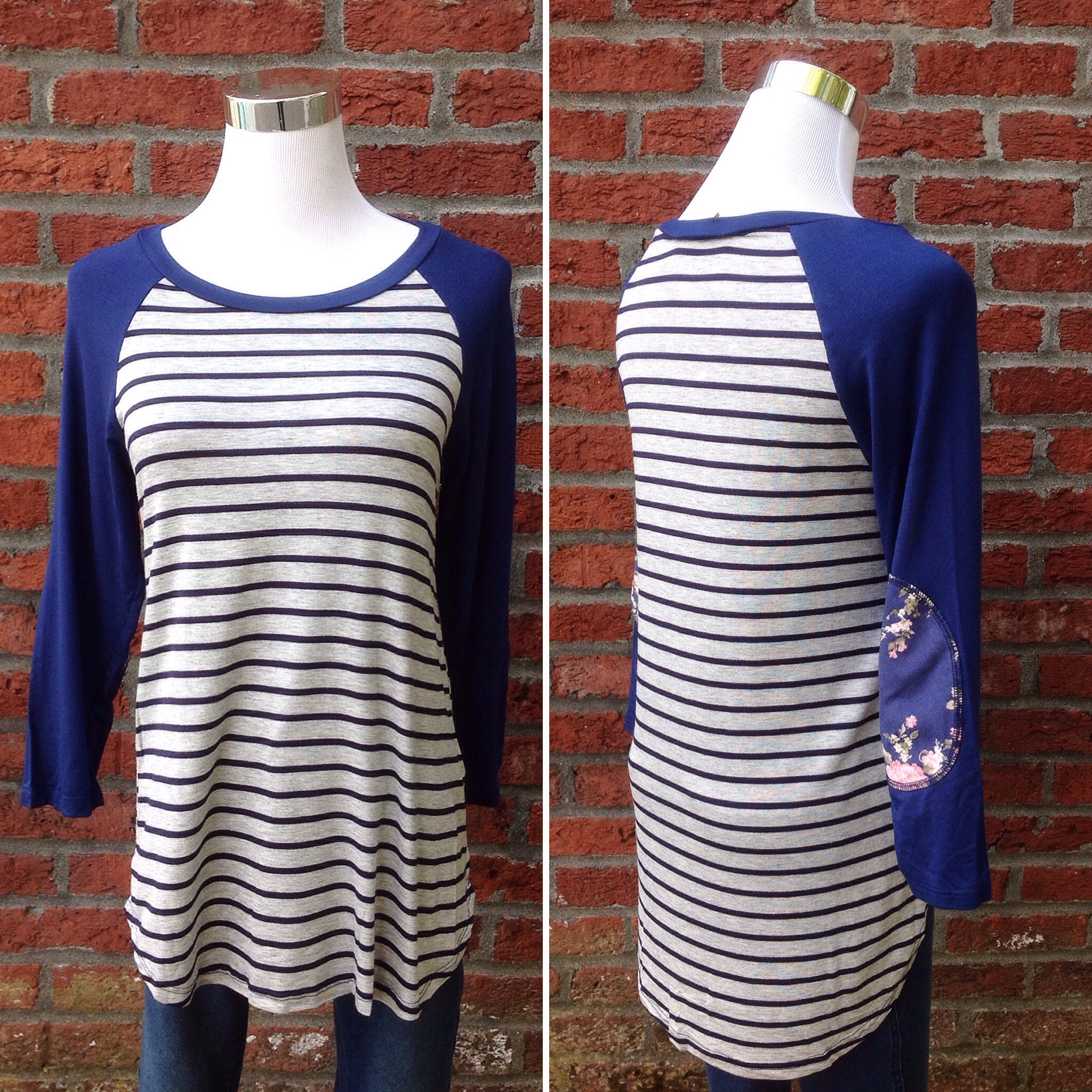 Grey and navy stripe baseball top with contrasting sleeves, $30