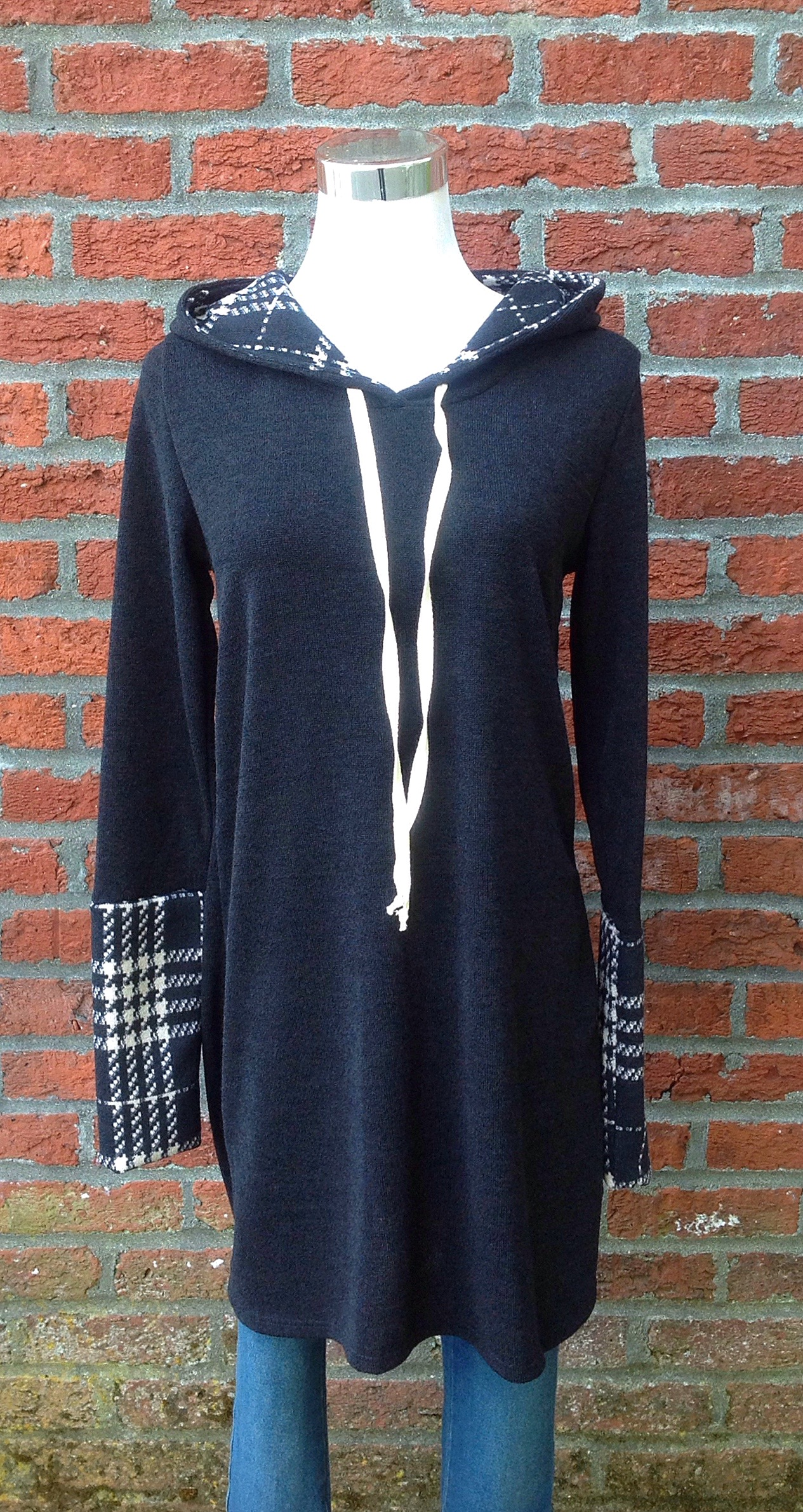 Sweater knit long hoodie with plaid detail, $38