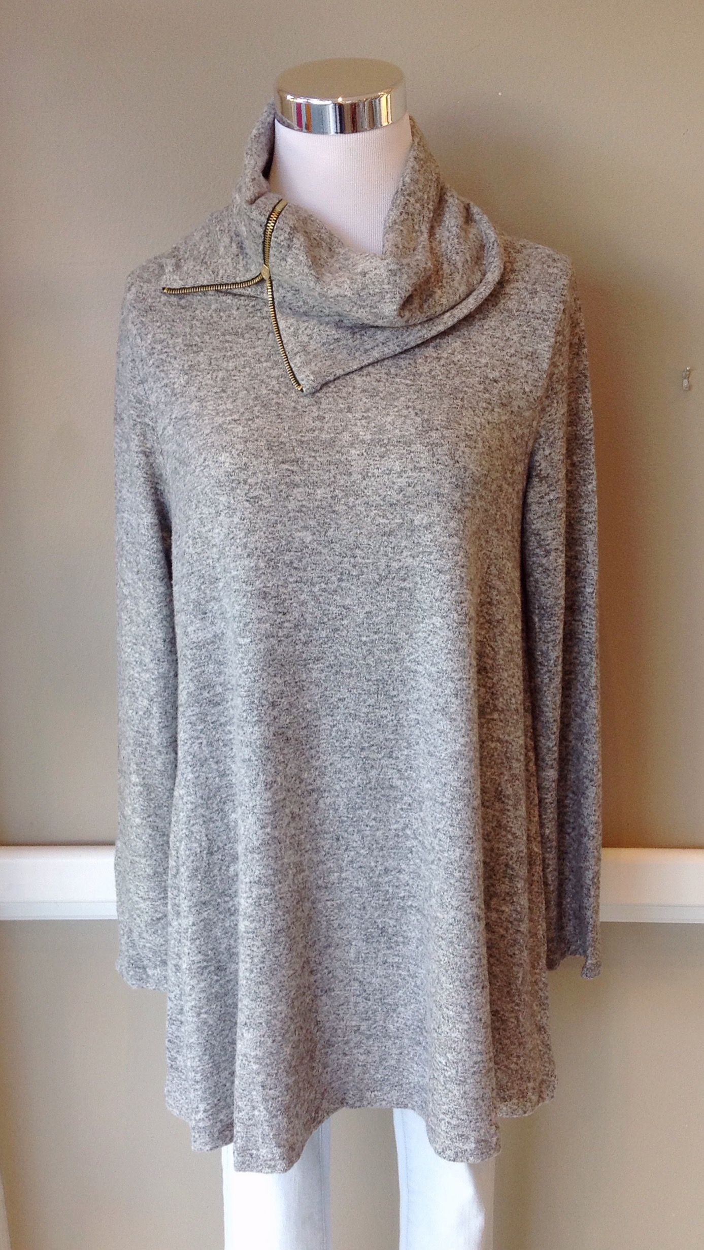 Heather grey, fleecy knit cowl sweater