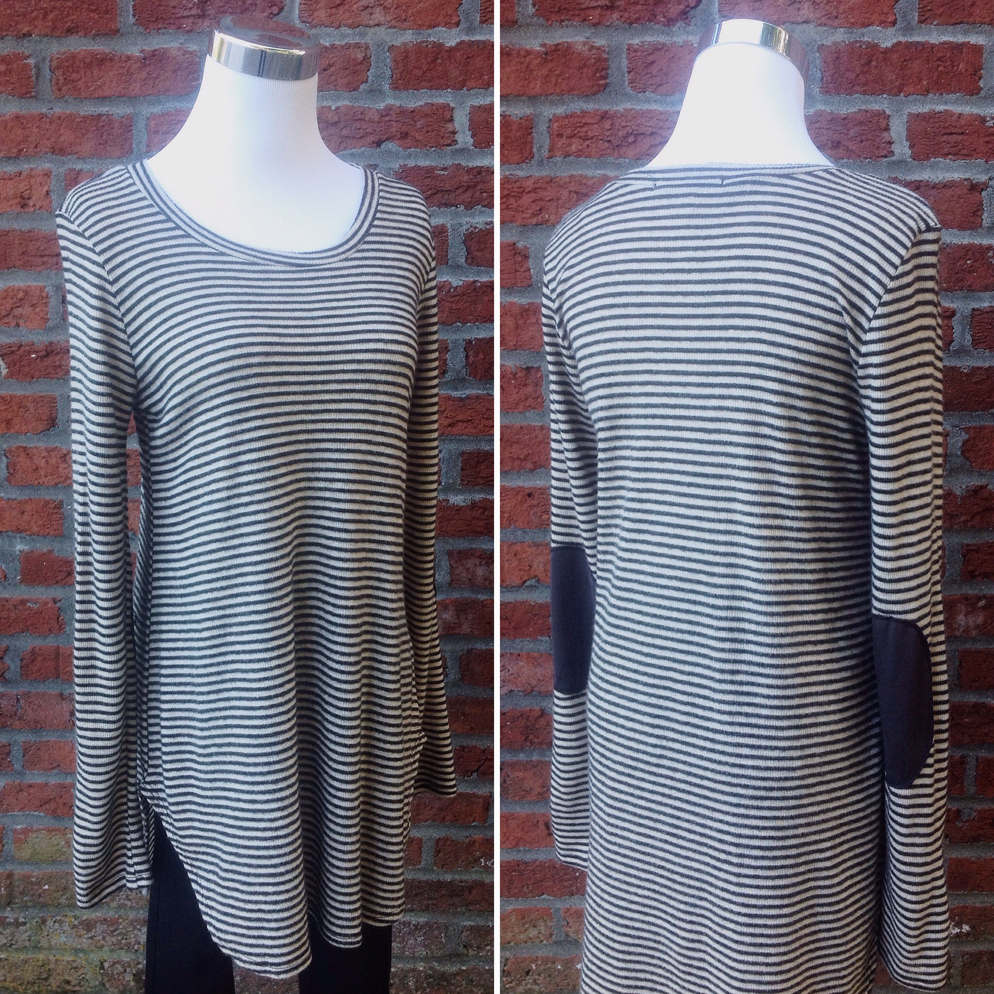 Brushed pinstripe top with elbow patches in taupe/black/charcoal, $34