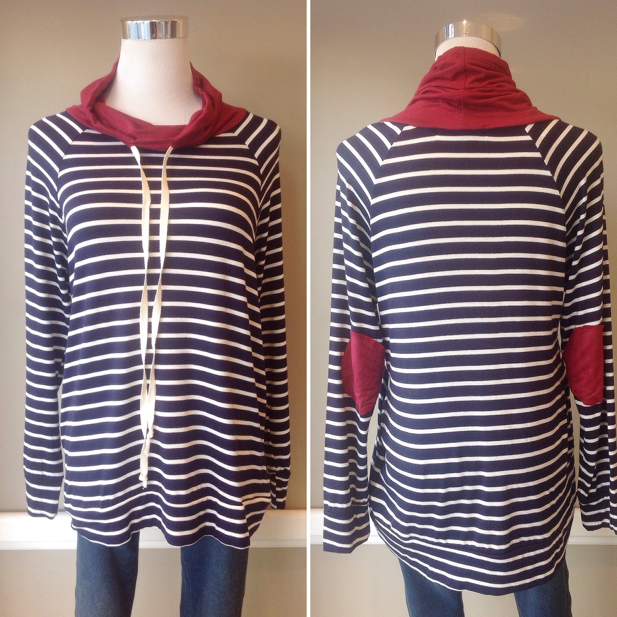 Bestselling Chris and Carol striped cowl top, $35
